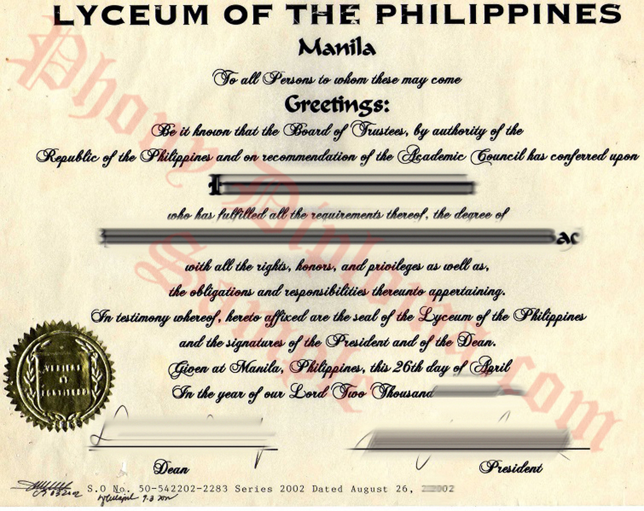 Lyceum Of The Philippines Free Sample From Phonydiploma