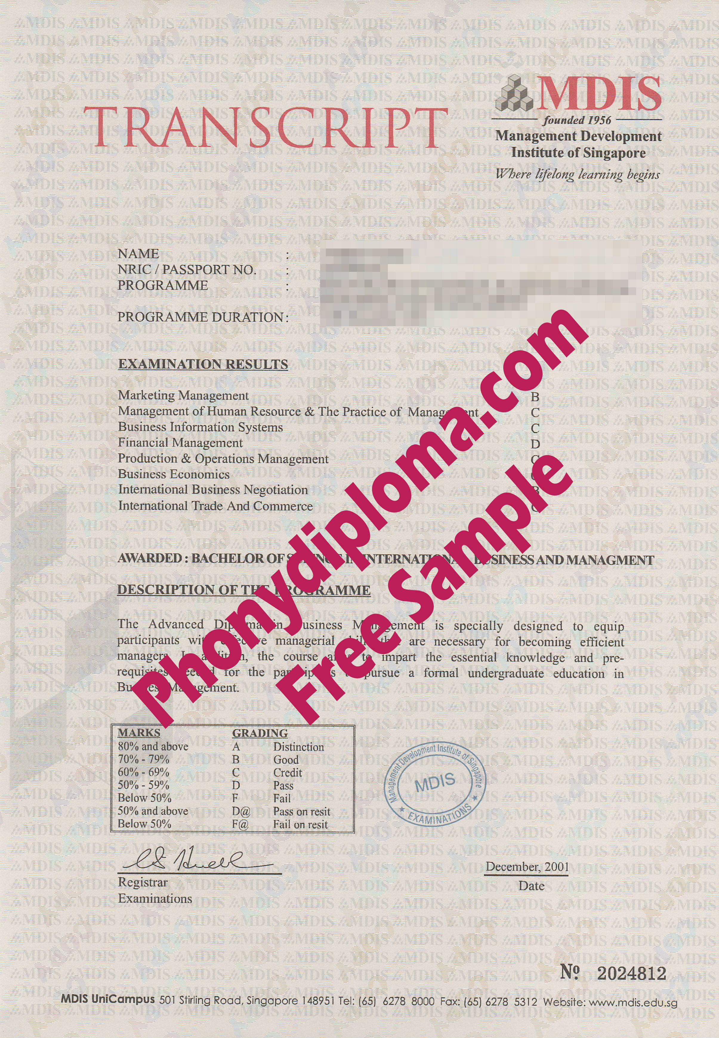 Mdis Management Development Institute Of Singapore Actual Match Transcript Free Sample From Phonydiploma