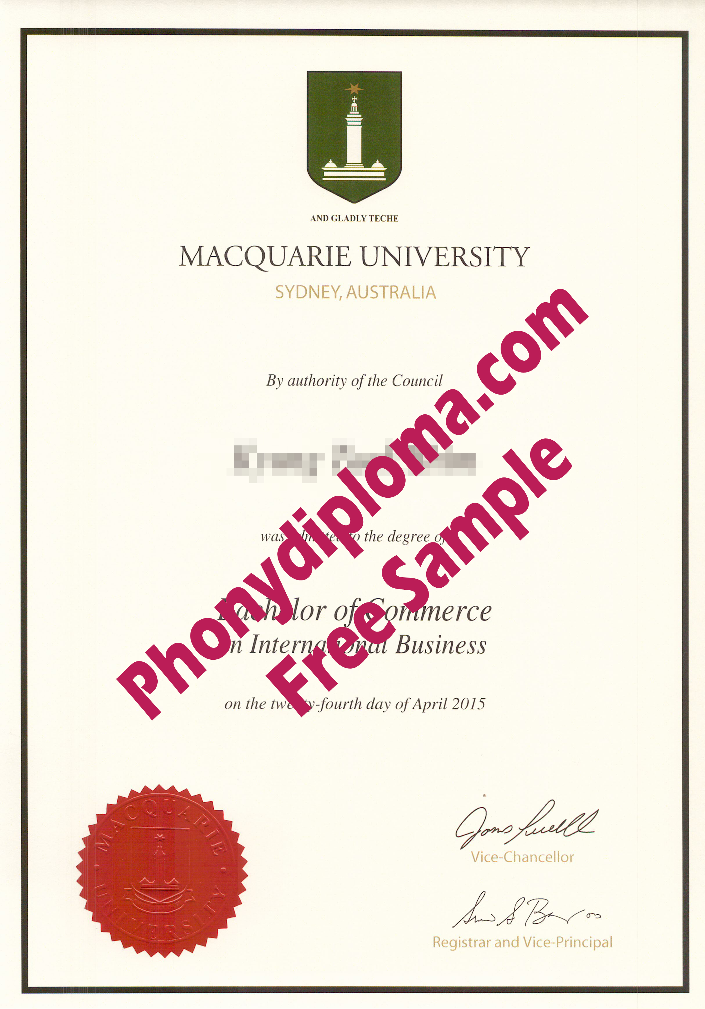 Macquarie University Free Sample From Phonydiploma