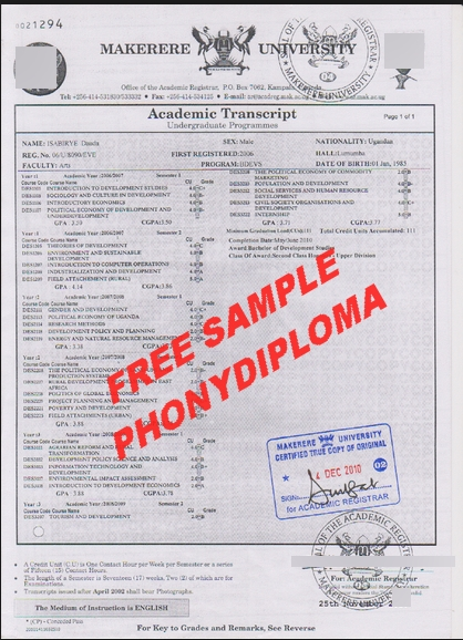 Makerere University Actual Match Transcripts Free Sample From Phonydiploma