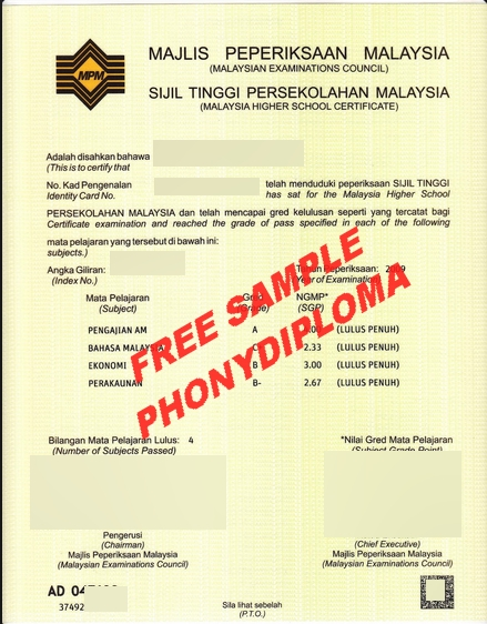 Malaysia Examinations Council High School Certificate Stpm Free Sample From Phonydiploma