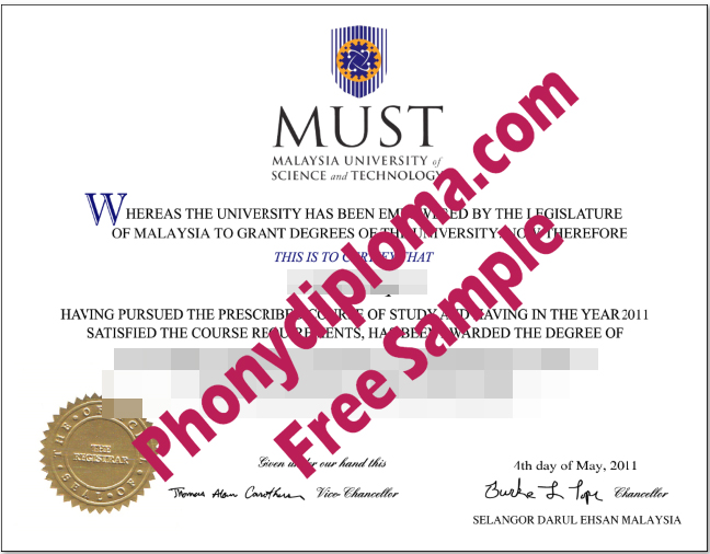Malaysia University Of Science And Technology Free Sample From Phonydiploma