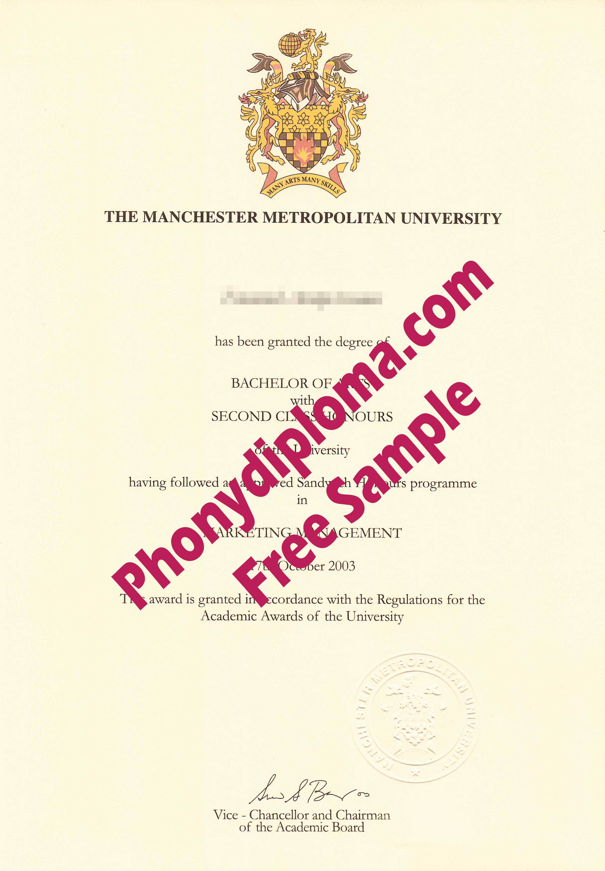 Manchester Metropolitan University Free Sample From Phonydiploma