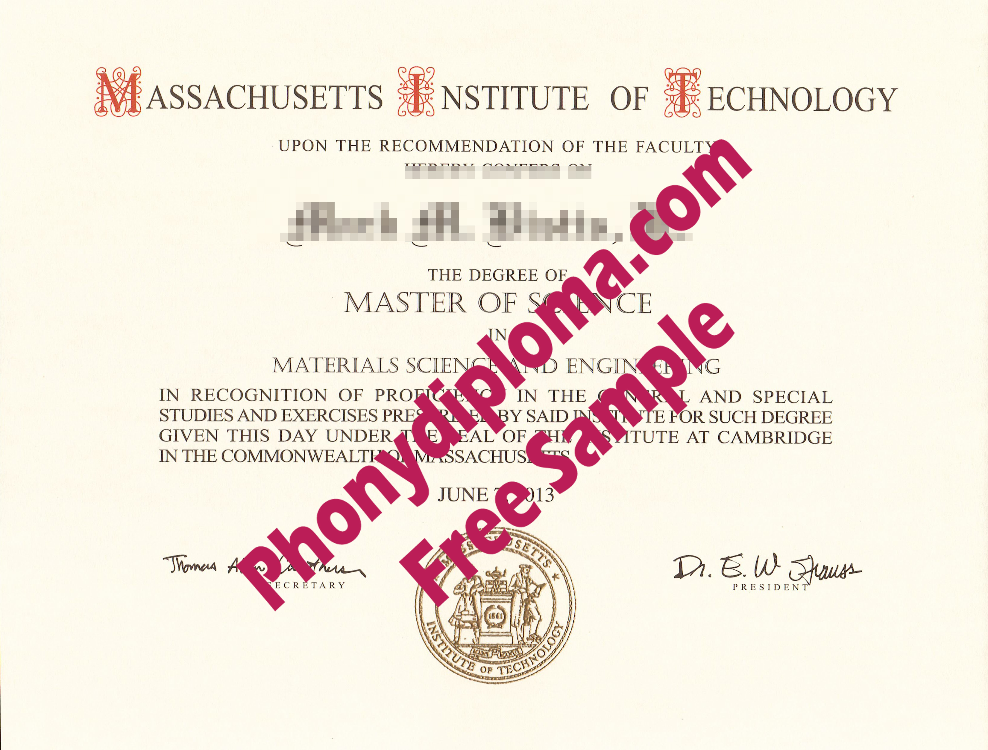 Massachusetts Institute Of Technology Free Sample From Phonydiploma