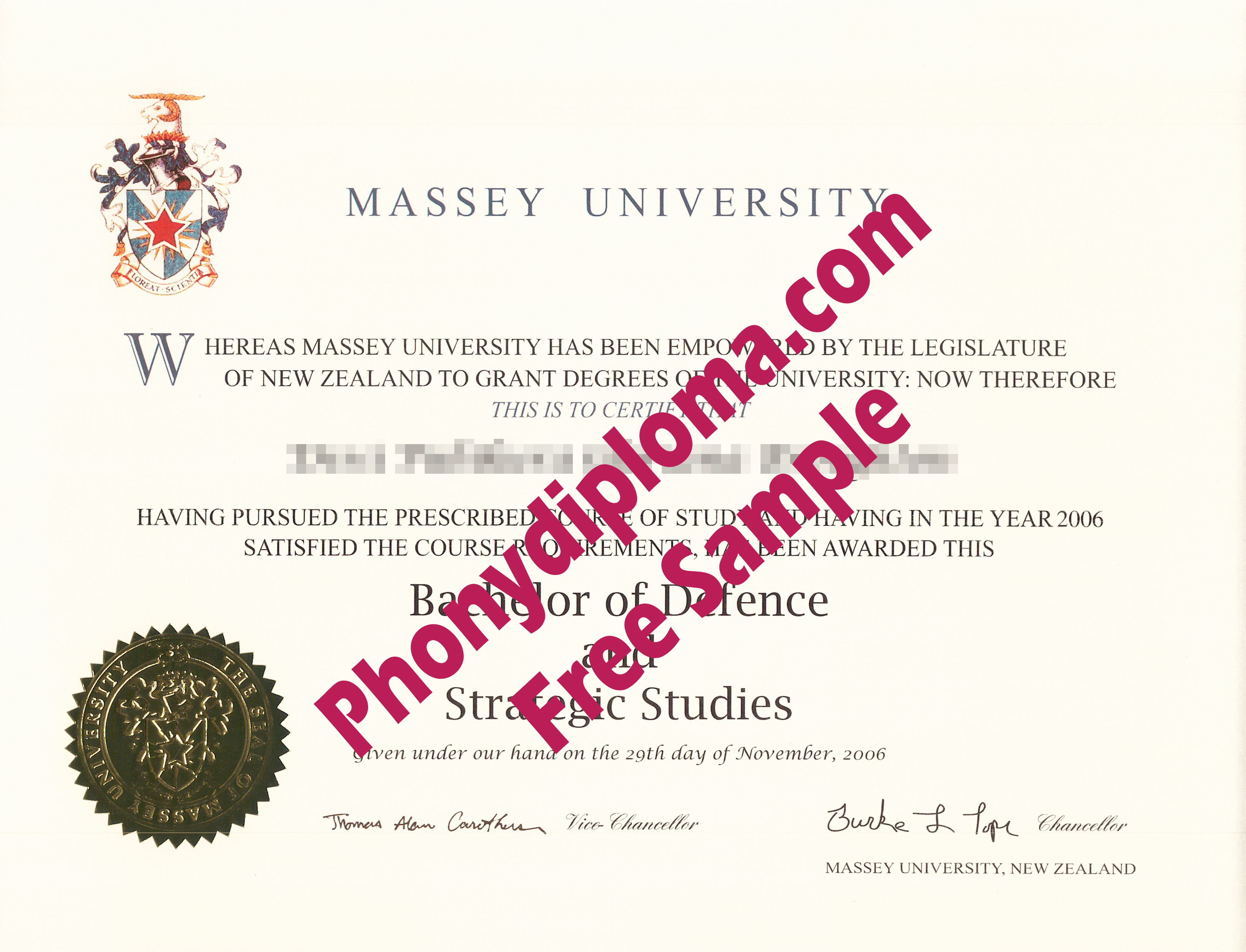 Massey New Zealand Free Sample From Phonydiploma