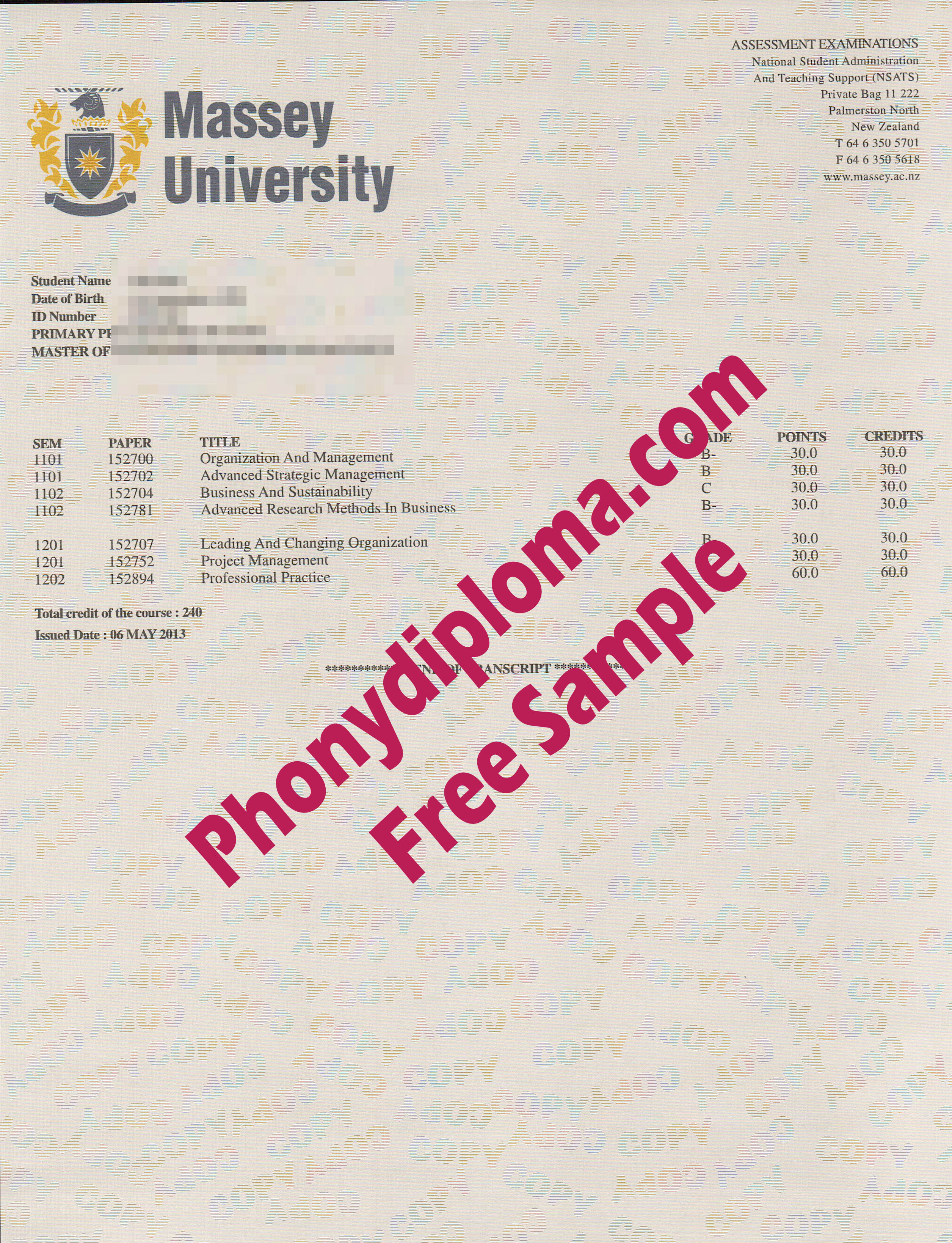 Massey University Actual Match Transcript Free Sample From Phonydiploma