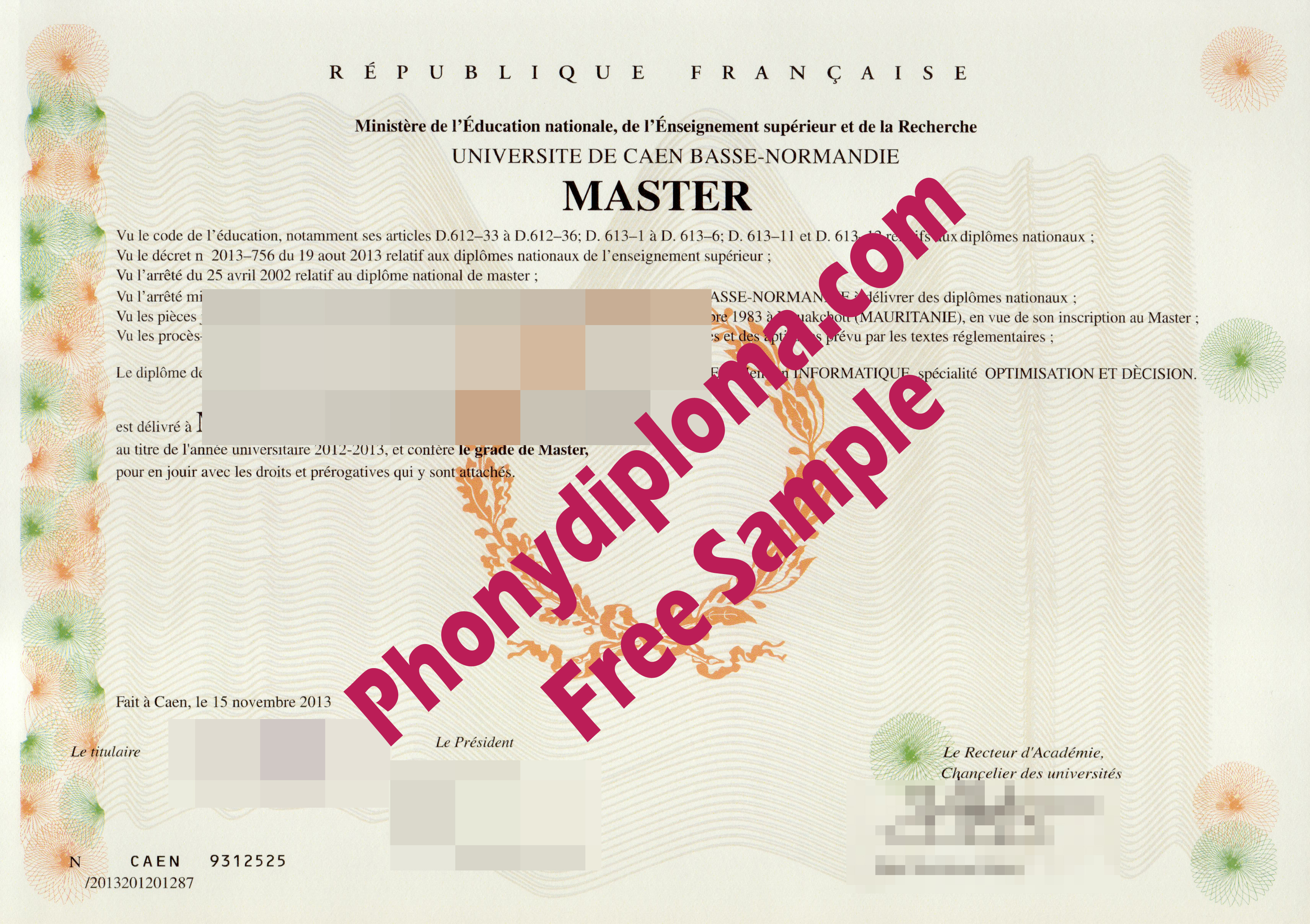 Master Normandie Universite De Caen Basse   Normandie France Free Sample From Phonydiploma