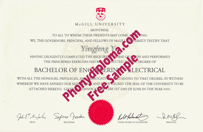 Mcgill University Free Sample From Phonydiploma