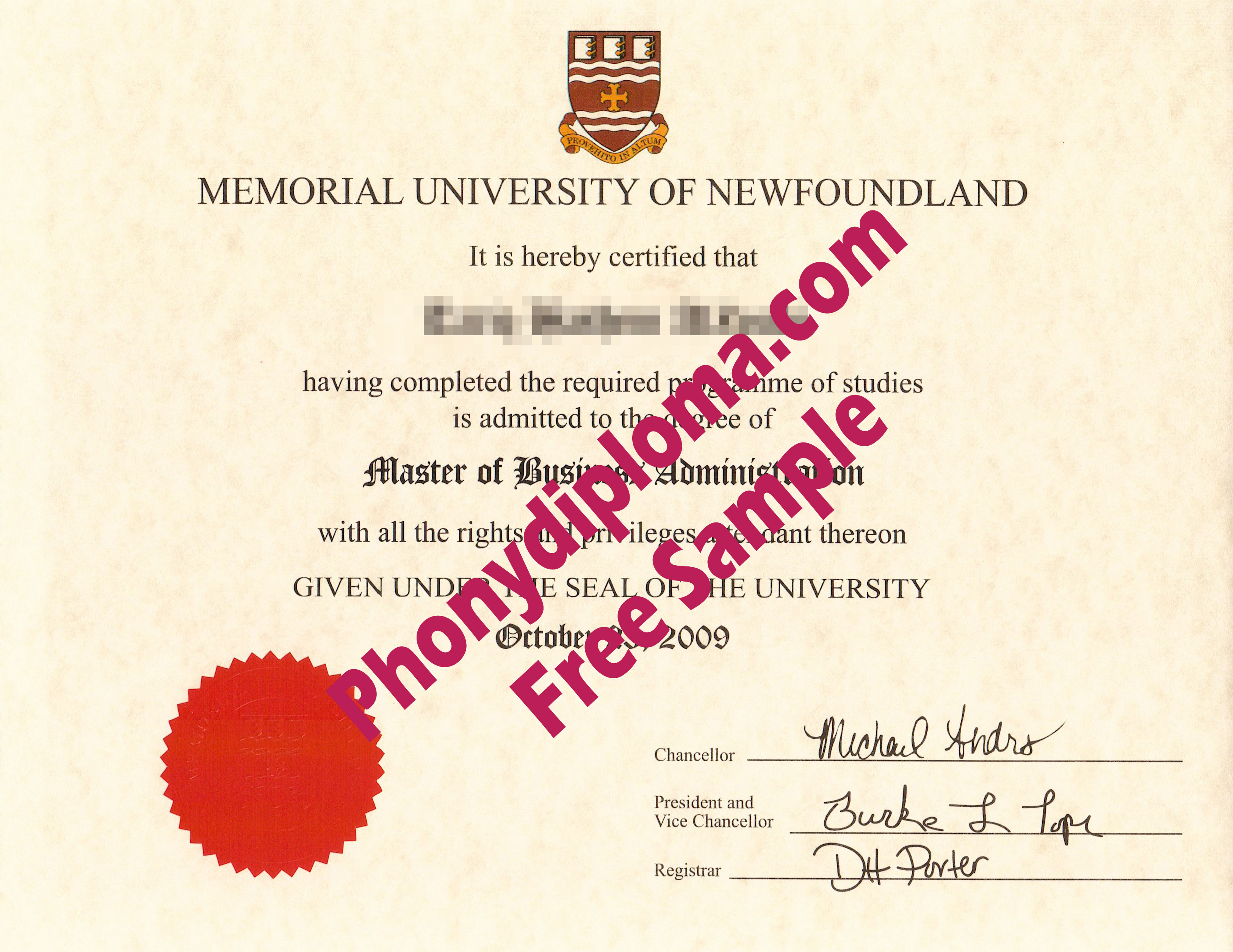 Memorial University Of Newfoundland Free Sample From Phonydiploma