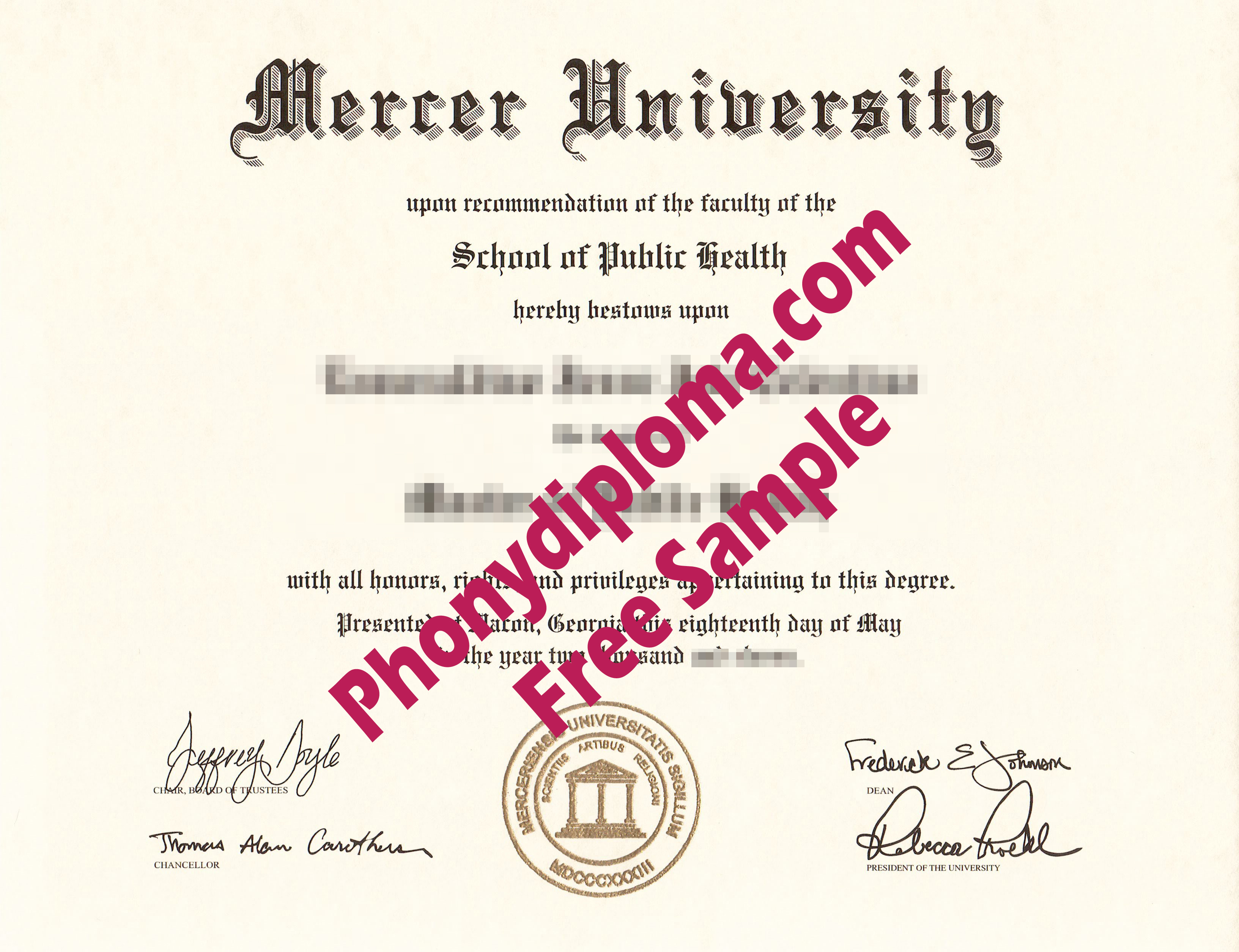Mercer University Free Sample From Phonydiploma
