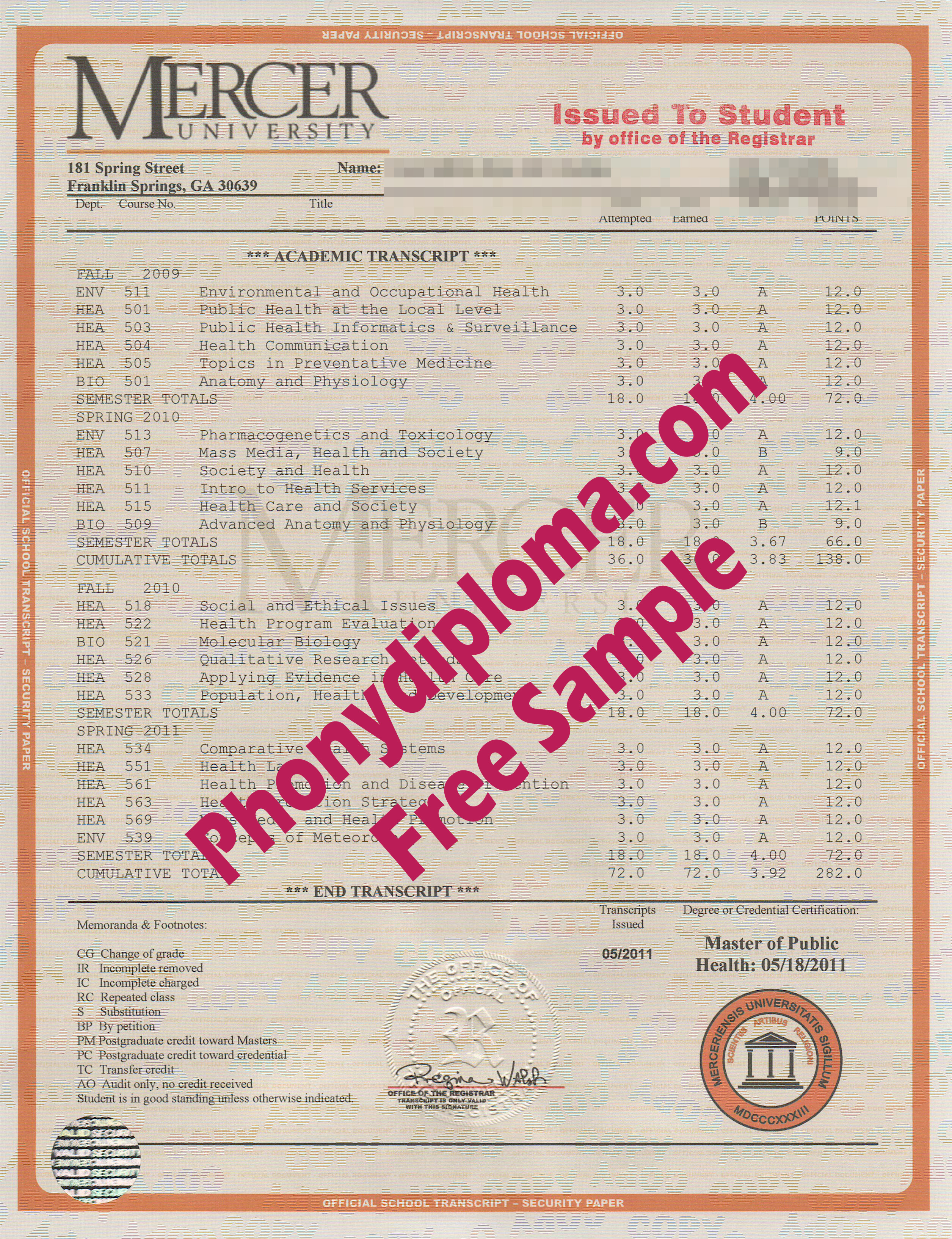 Mercer University House Design Transcripts Free Sample From Phonydiploma