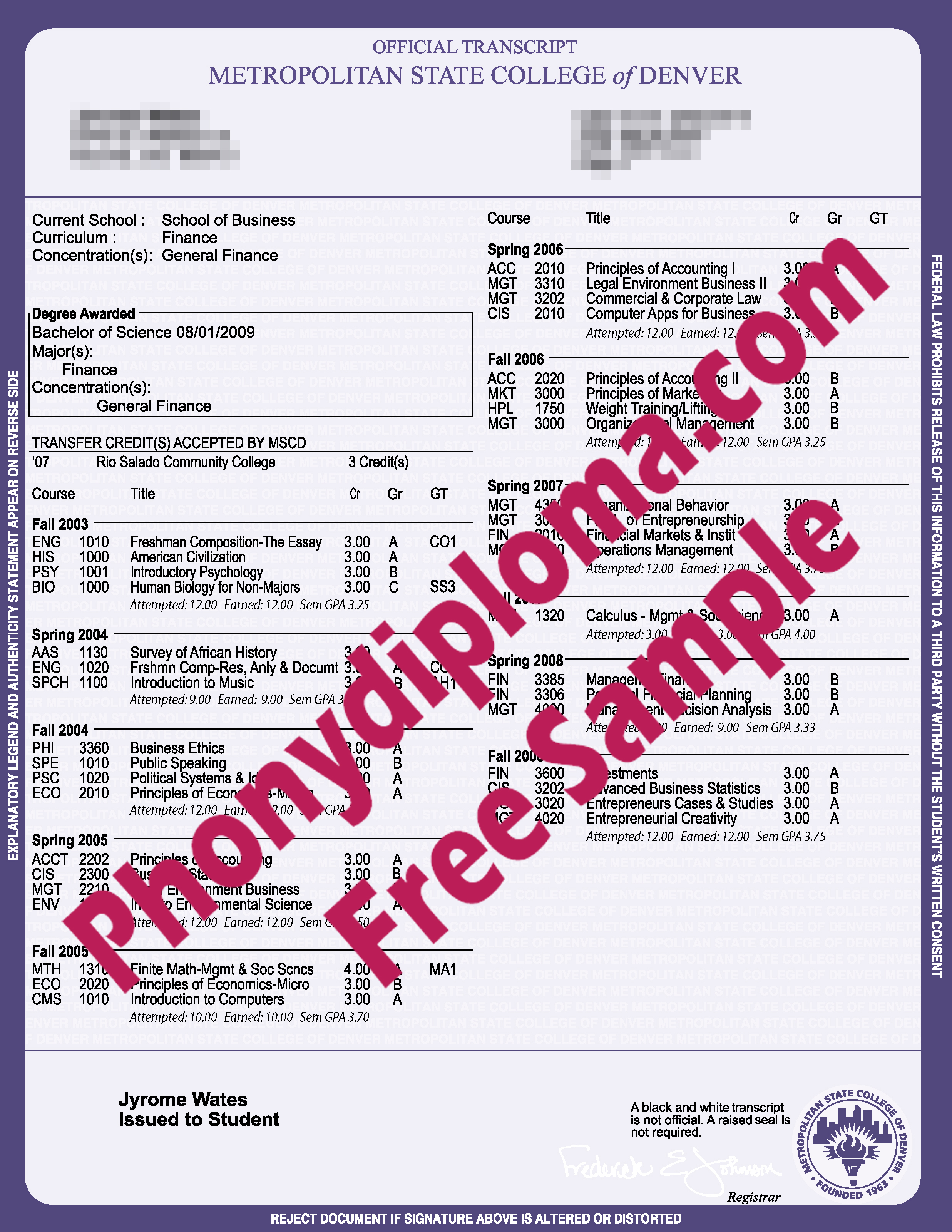 Metropolitan College Of Denver Actual Match Transcripts Free Sample From Phonydiploma