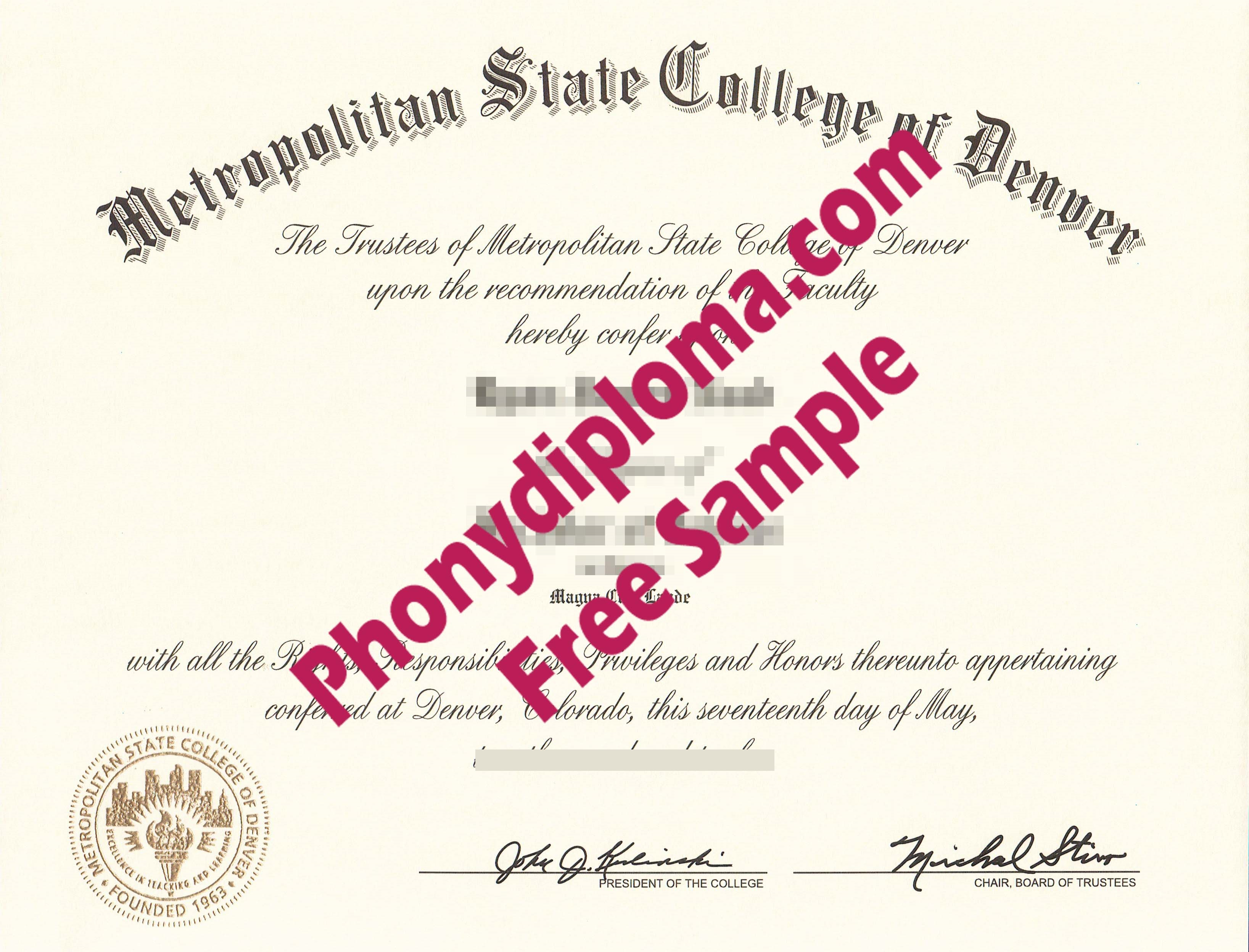 Metropolitan State College Of Denver Free Sample From Phonydiploma