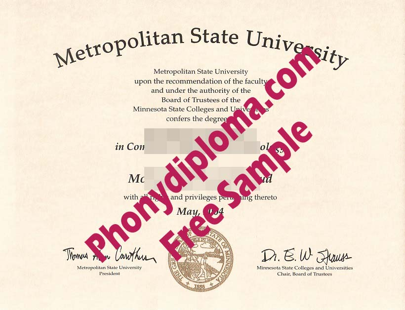 Metropolitan State University Minnesota Mn Free Sample From Phonydiploma