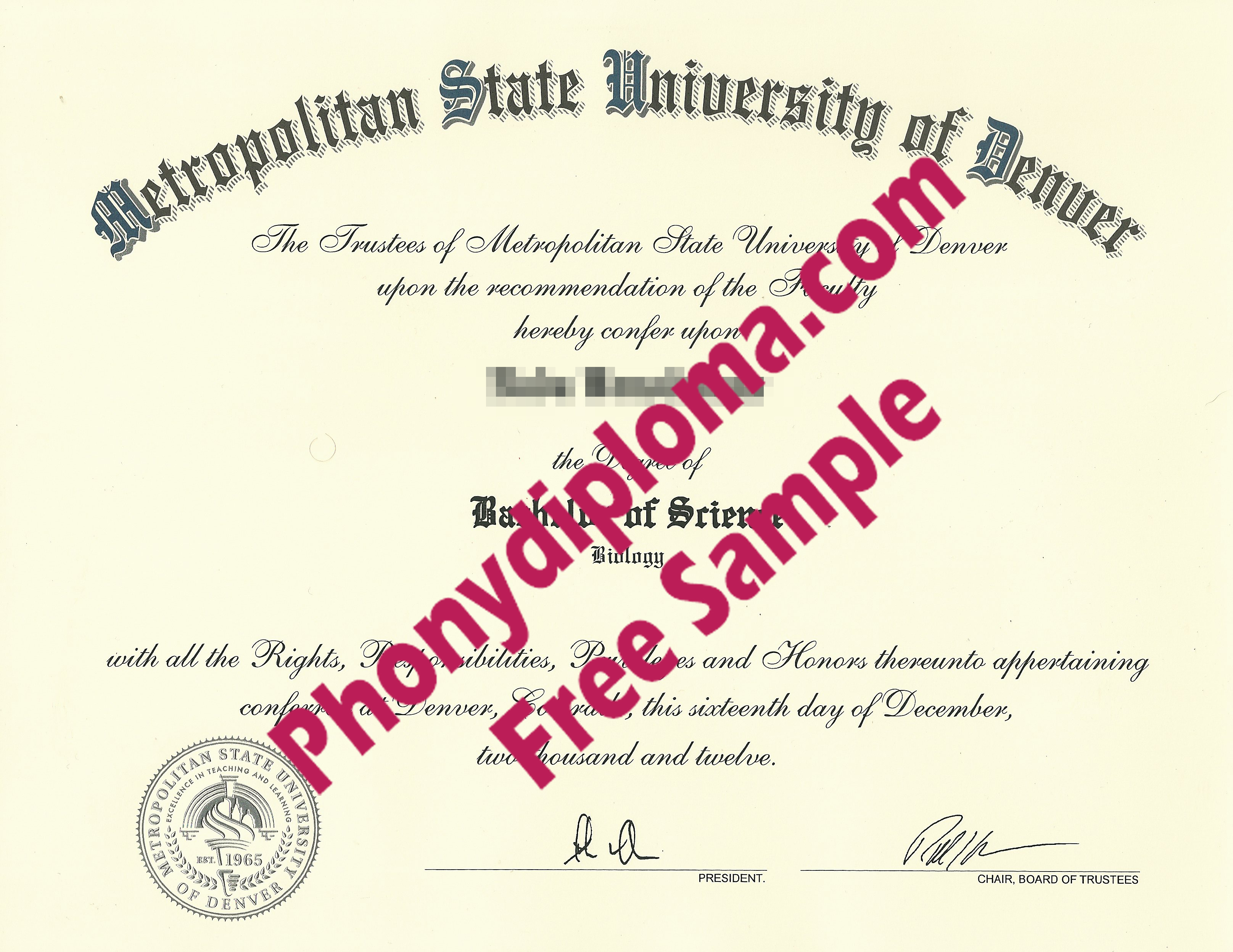 Metropolitan State University Of Denver Free Sample From Phonydiploma