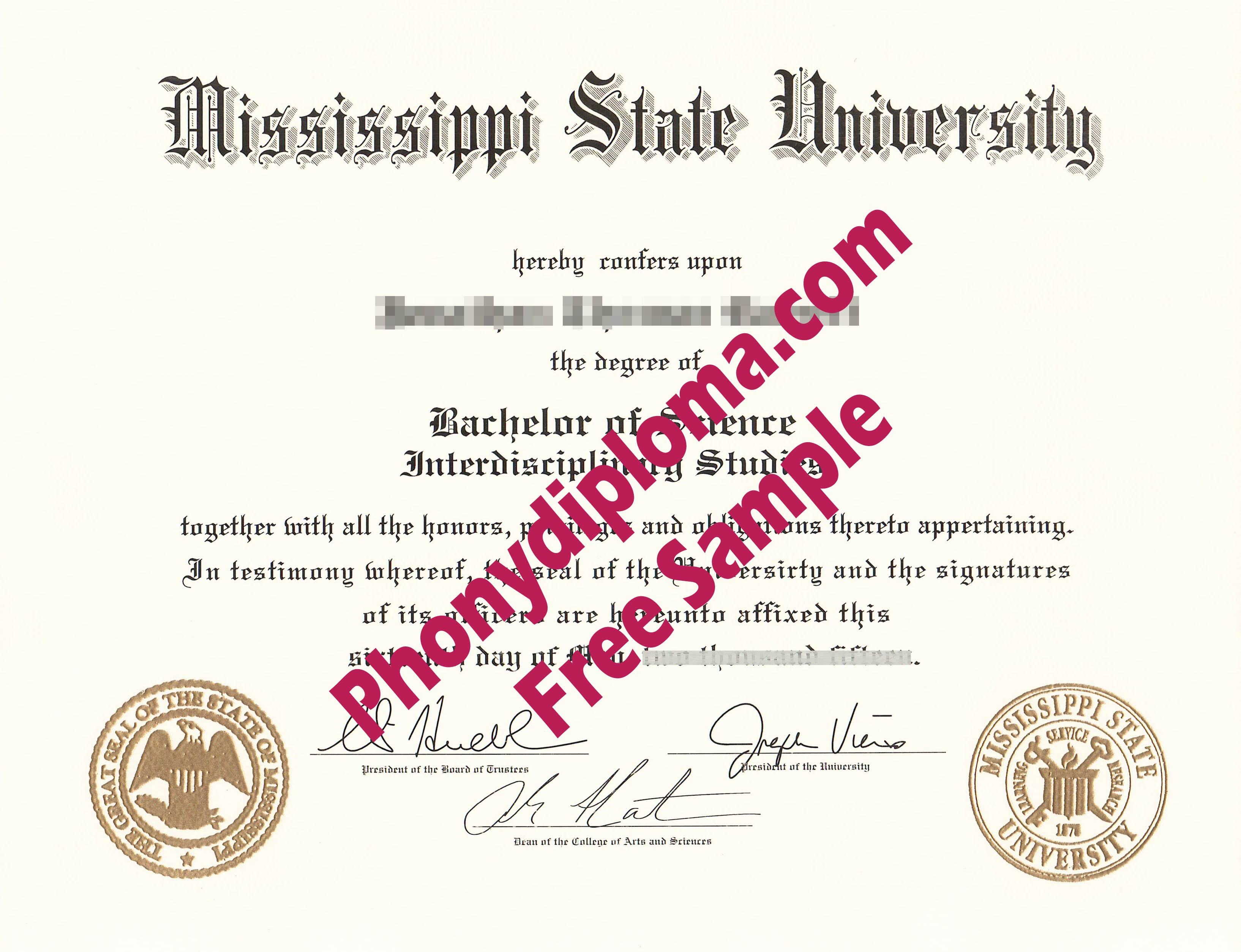 Mississippi State University Free Sample From Phonydiploma