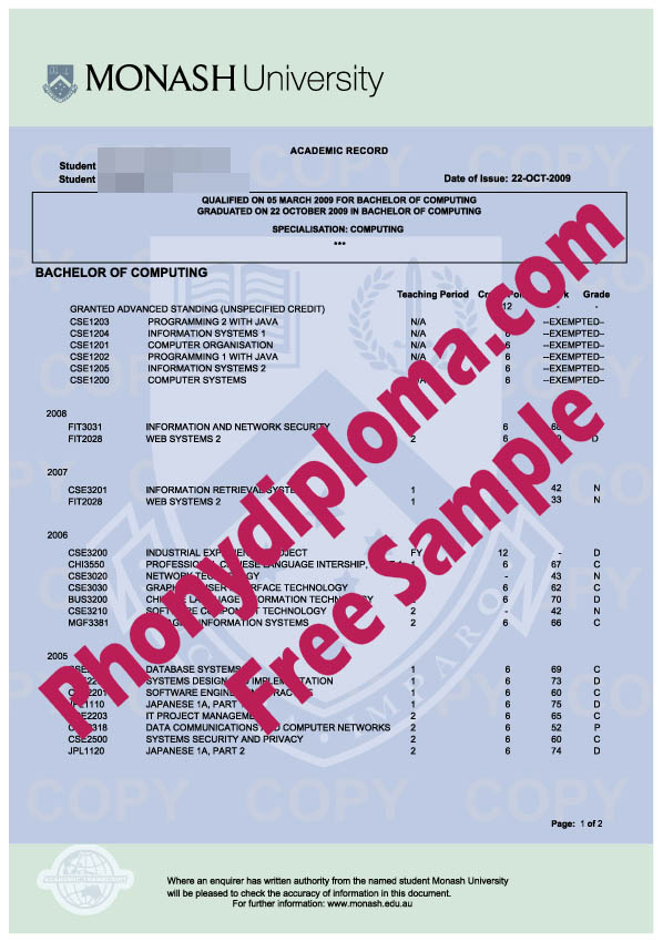 Monash University Actual Match Transcripts Free Sample From Phonydiploma
