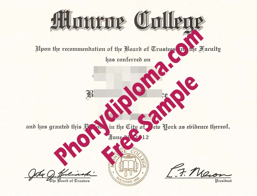 Monroe College Scan Free Sample From Phonydiploma