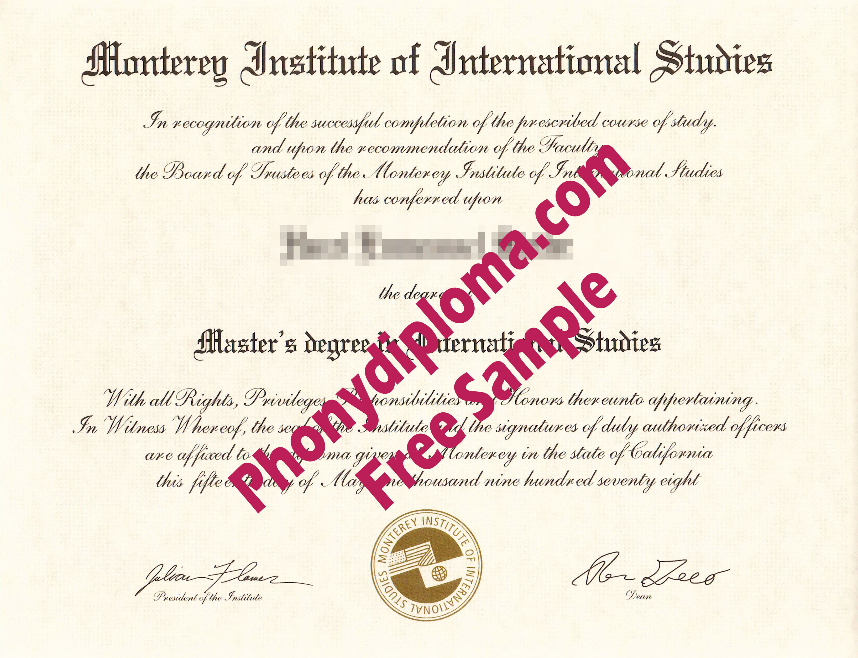 Monterey Institute Of International Studies Free Sample From Phonydiploma