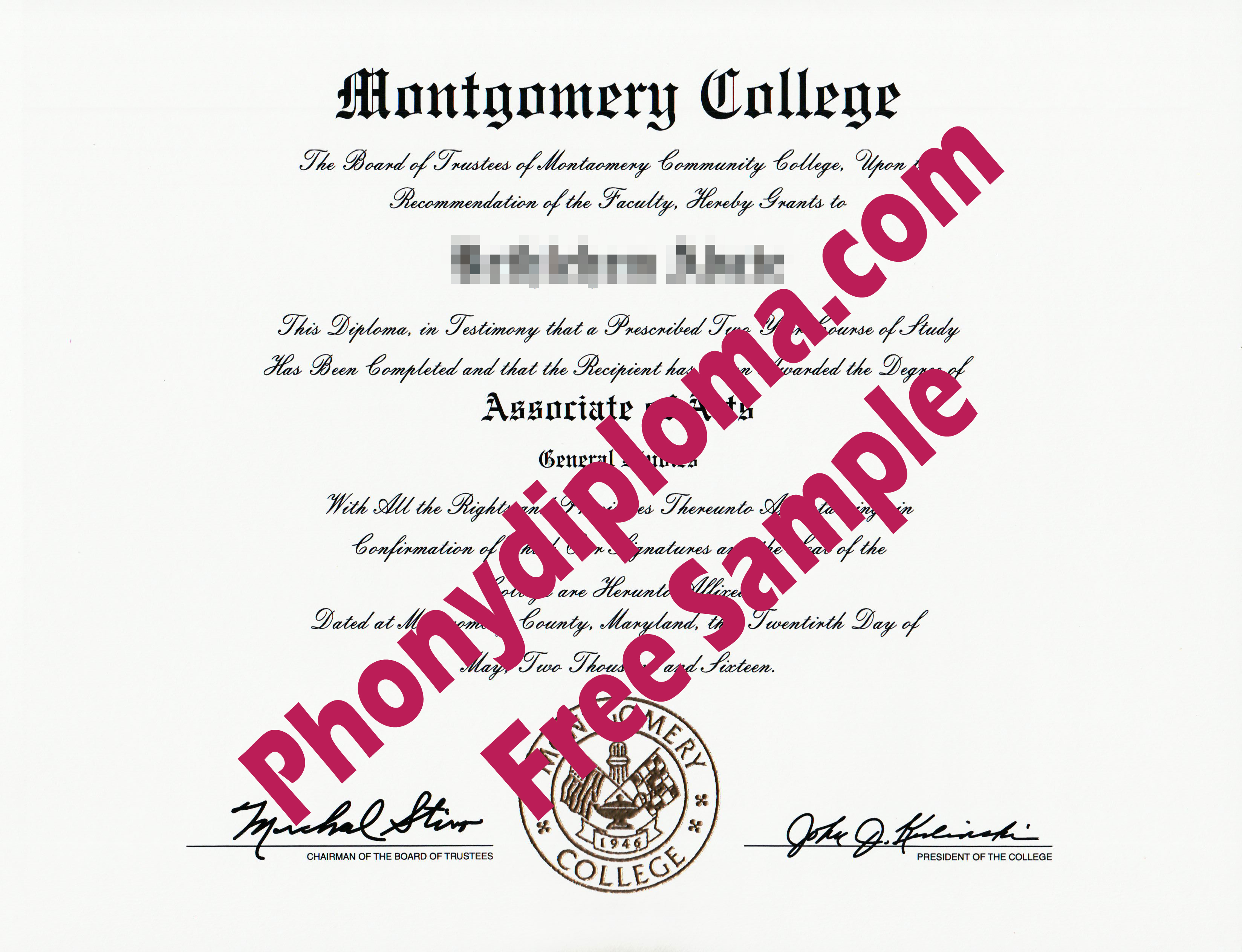 Montgomery College Md Free Sample From Phonydiploma