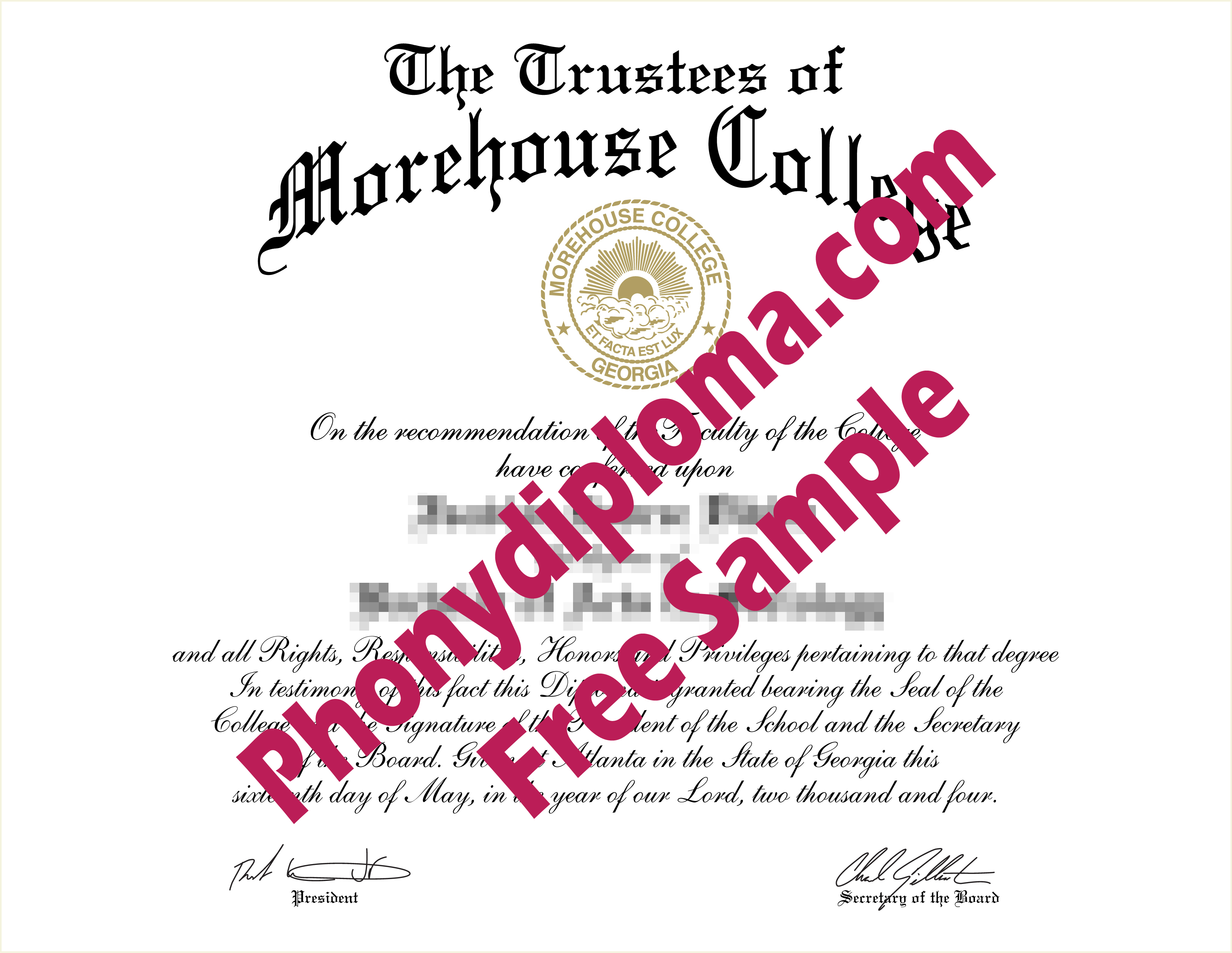 Morehouse College Ga Free Sample From Phonydiploma