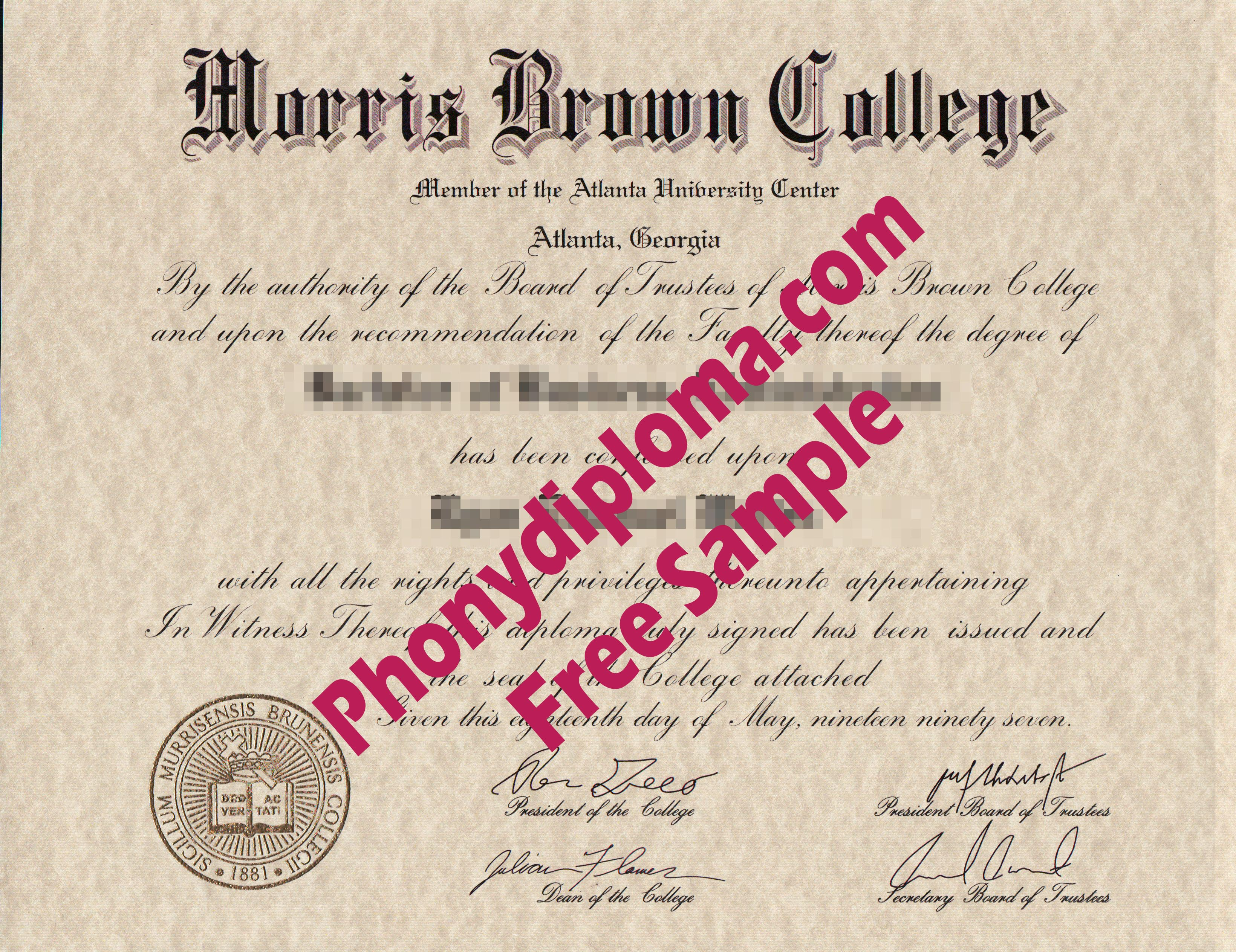 Morris Brown College Free Sample From Phonydiploma