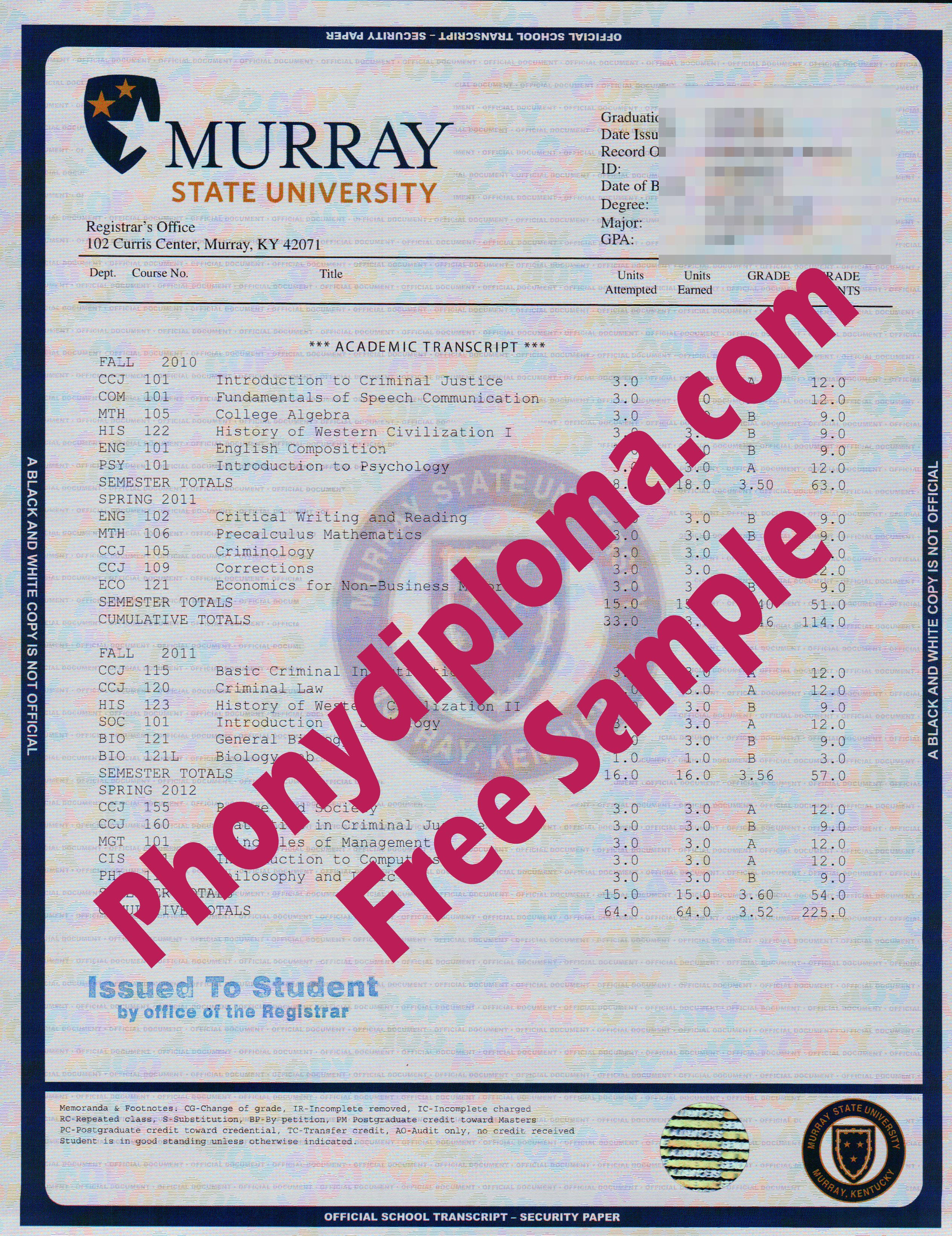 Murray State University House Design Transcript Free Sample From Phonydiploma