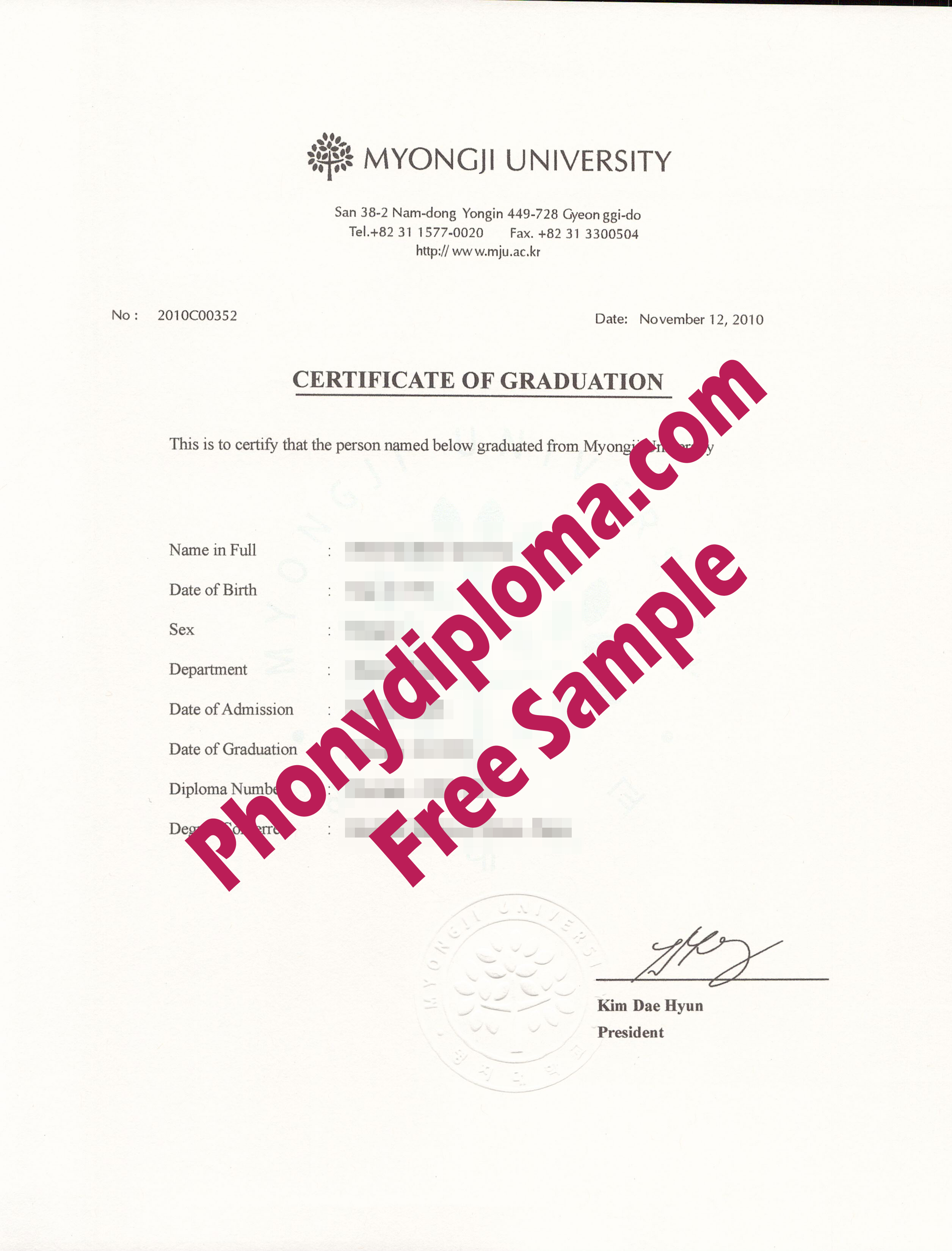 Myongi University  South Korea Diploma With Embossed Stamp Free Sample From Phonydiploma