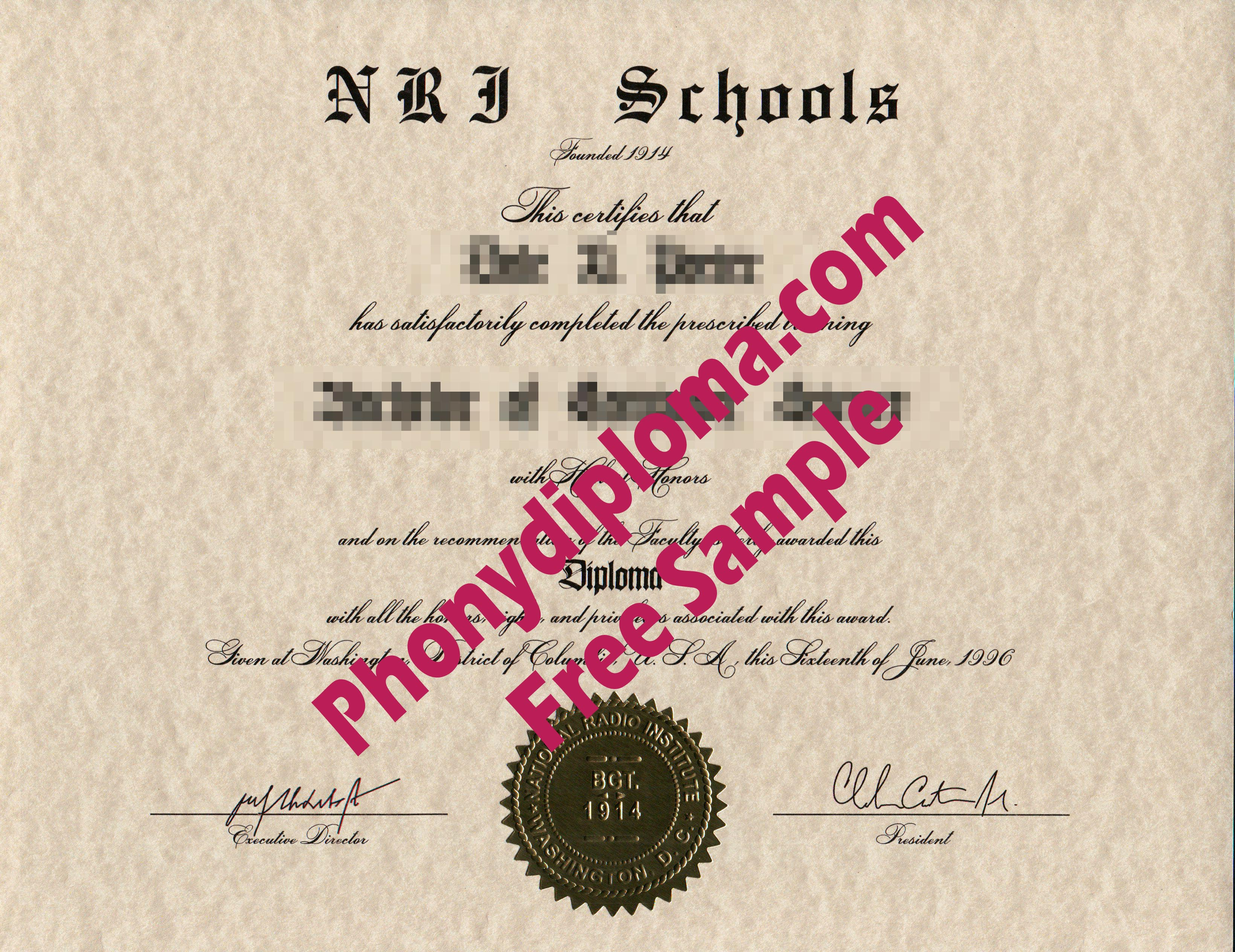 Nri Schools Free Sample From Phonydiploma