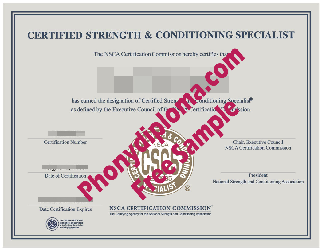 Nsca Cscs Certificate Fake Diploma Sample From Phonydiploma