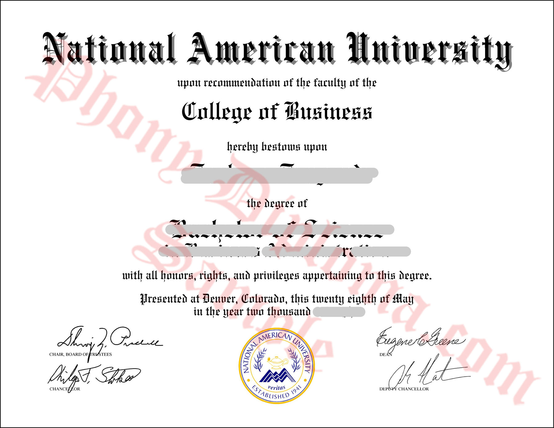 National American University Free Sample From Phonydiploma
