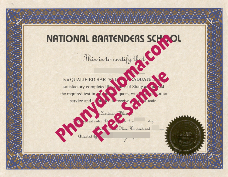 National Bartenders School Bartending Course Fake Diploma Sample From Phonydiploma