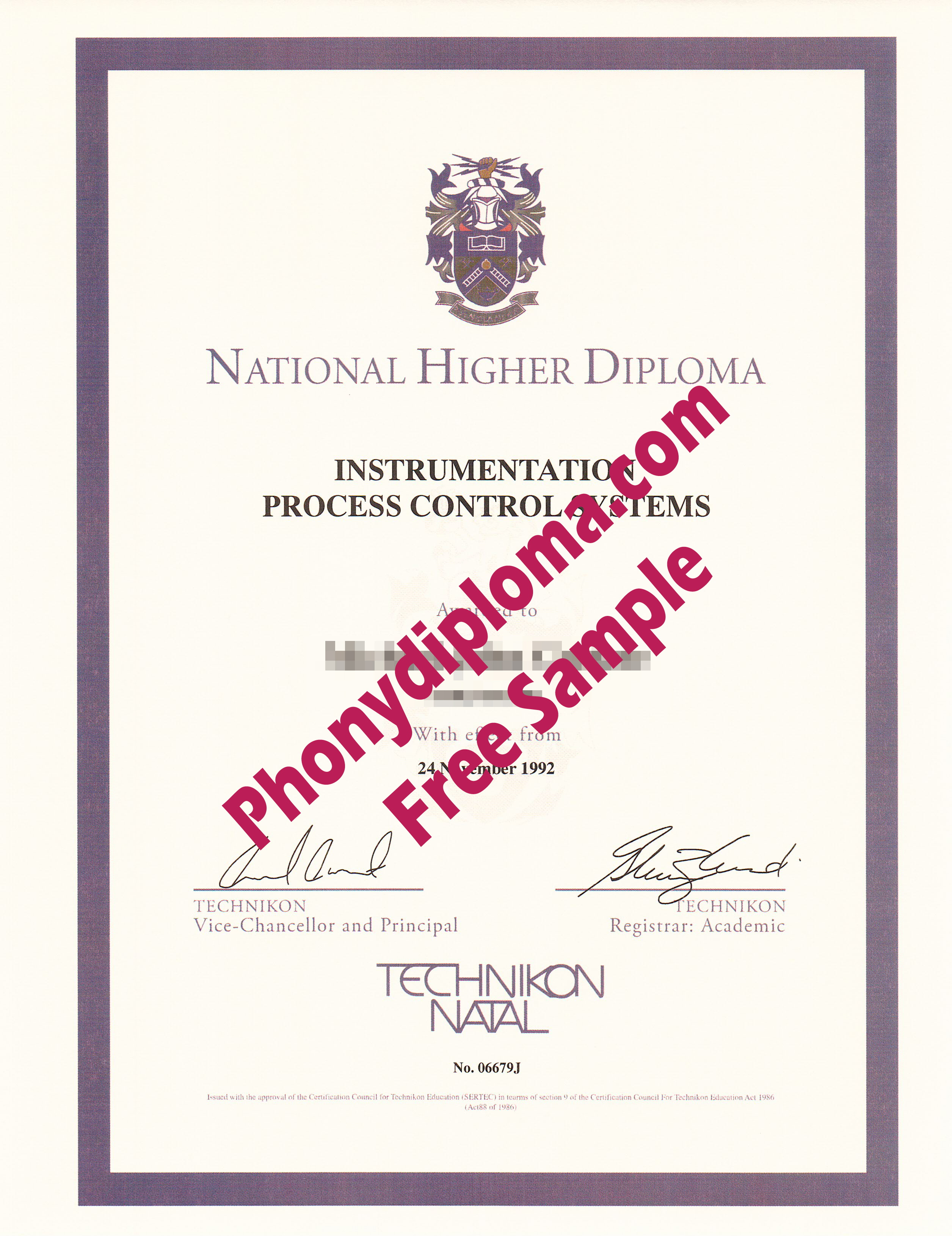 National Higher Dipoma Technikon Natal Free Sample From Phonydiploma