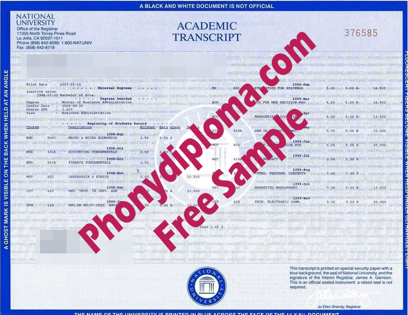 National University Ca Actual Match Transcripts Free Sample From Phonydiploma