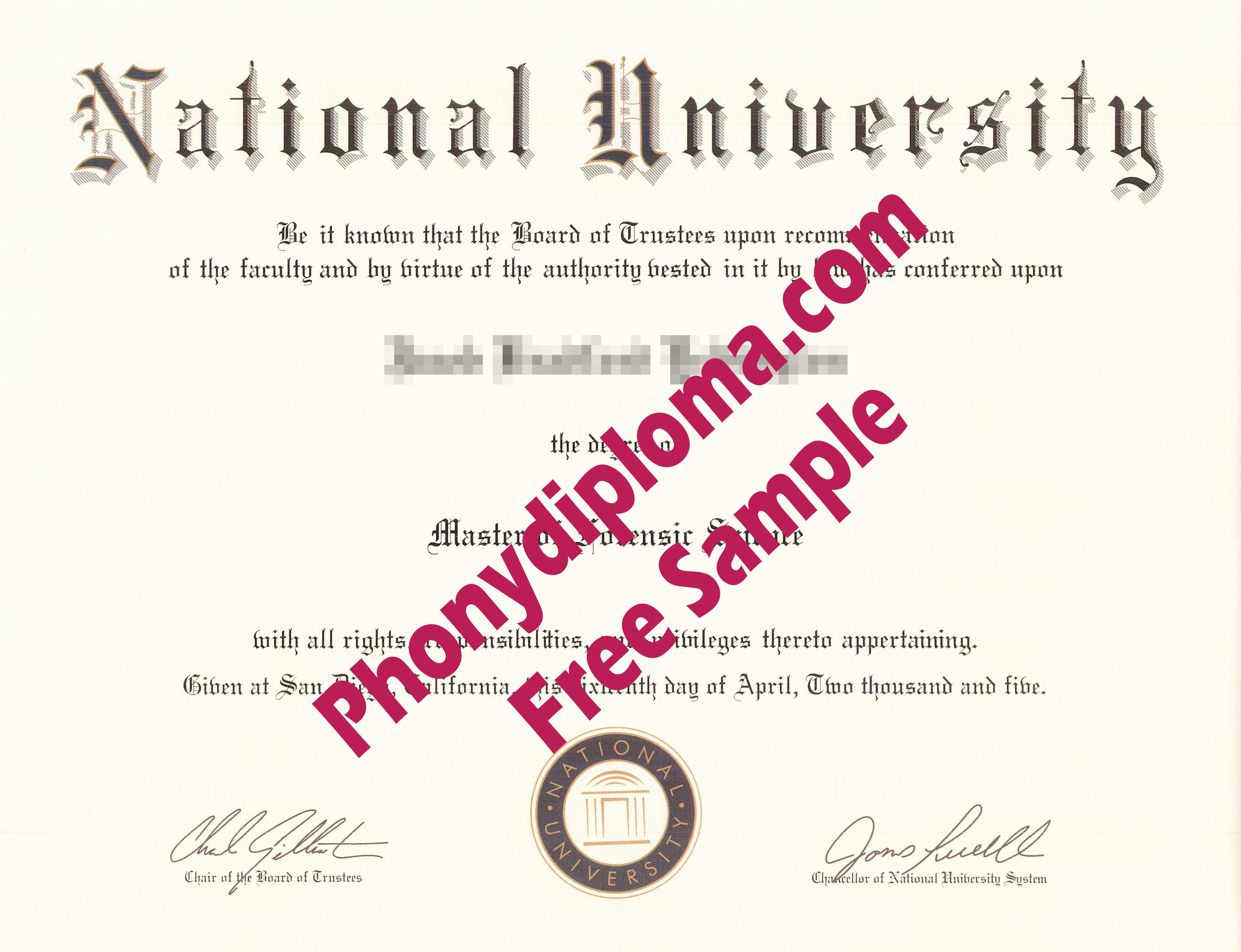 National University California Free Sample From Phonydiploma