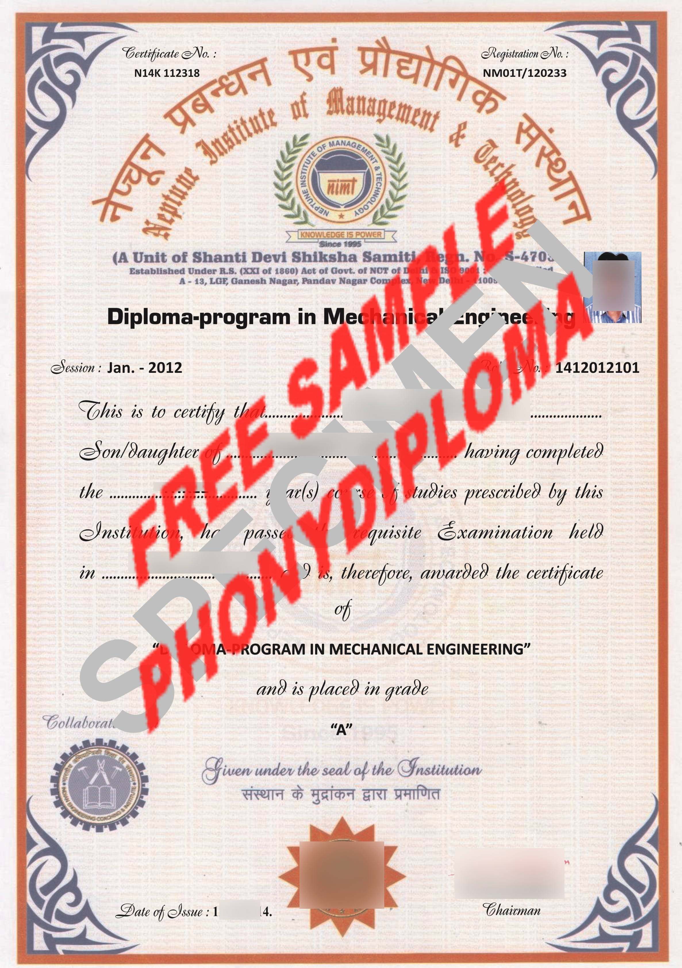 Neptune Institute Of Management & Technology Diploma Free Sample From Phonydiploma