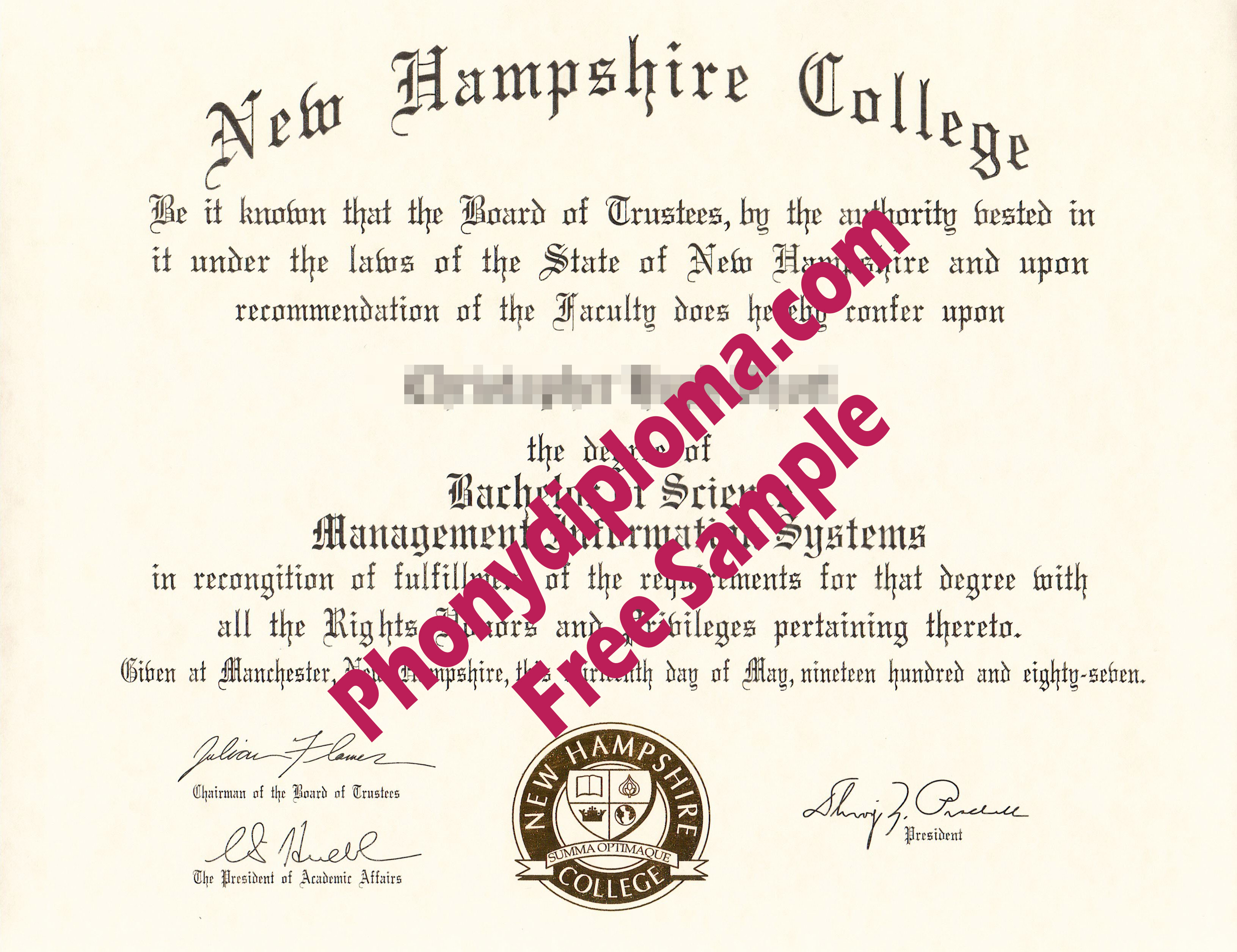 New Hampshire College Free Sample From Phonydiploma