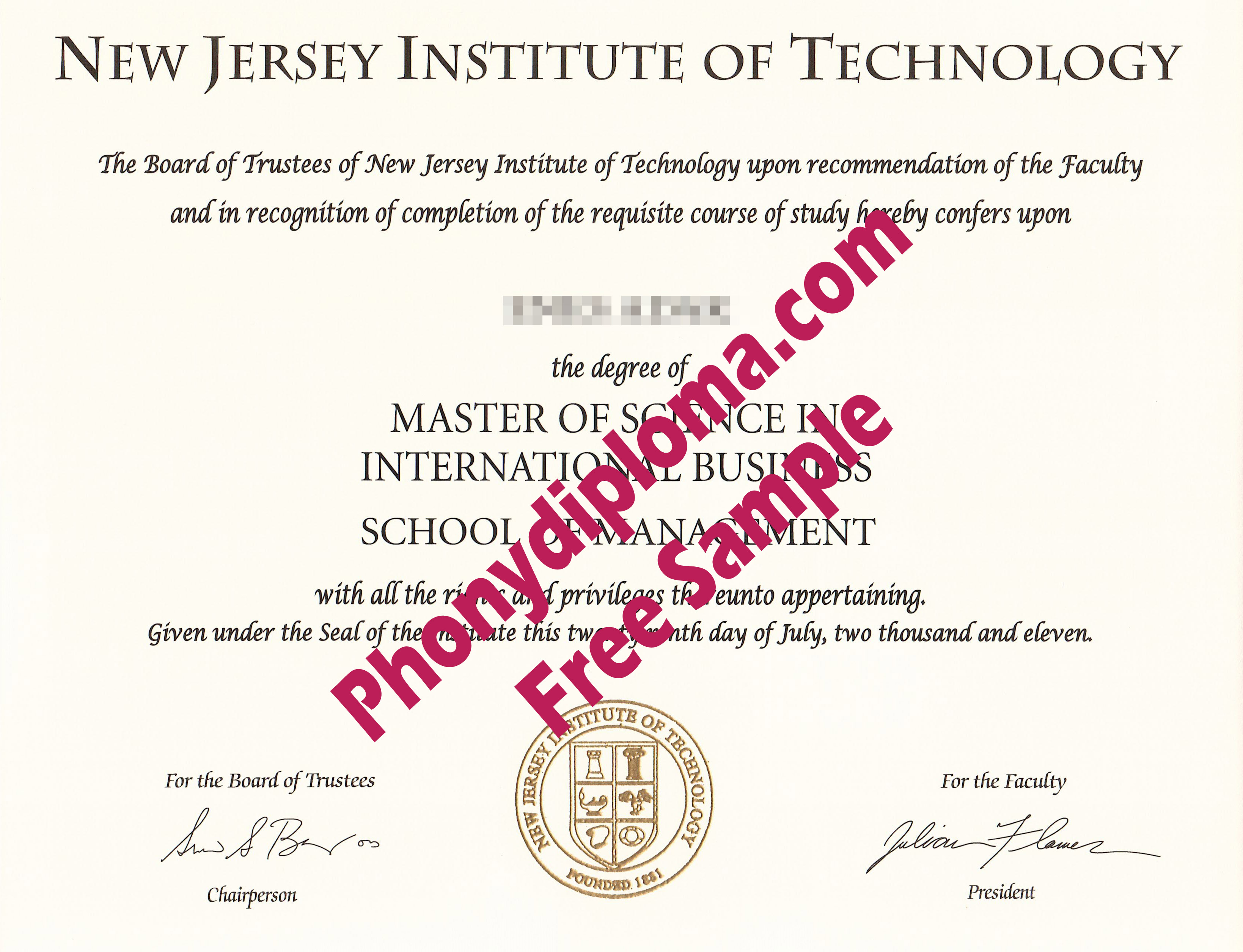 New Jersey Institute Of Technology Free Sample From Phonydiploma