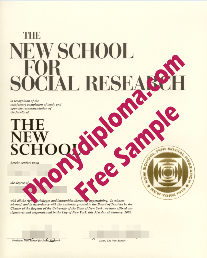 New School For Social Research Gold Ink Emblem Free Sample From Phonydiploma
