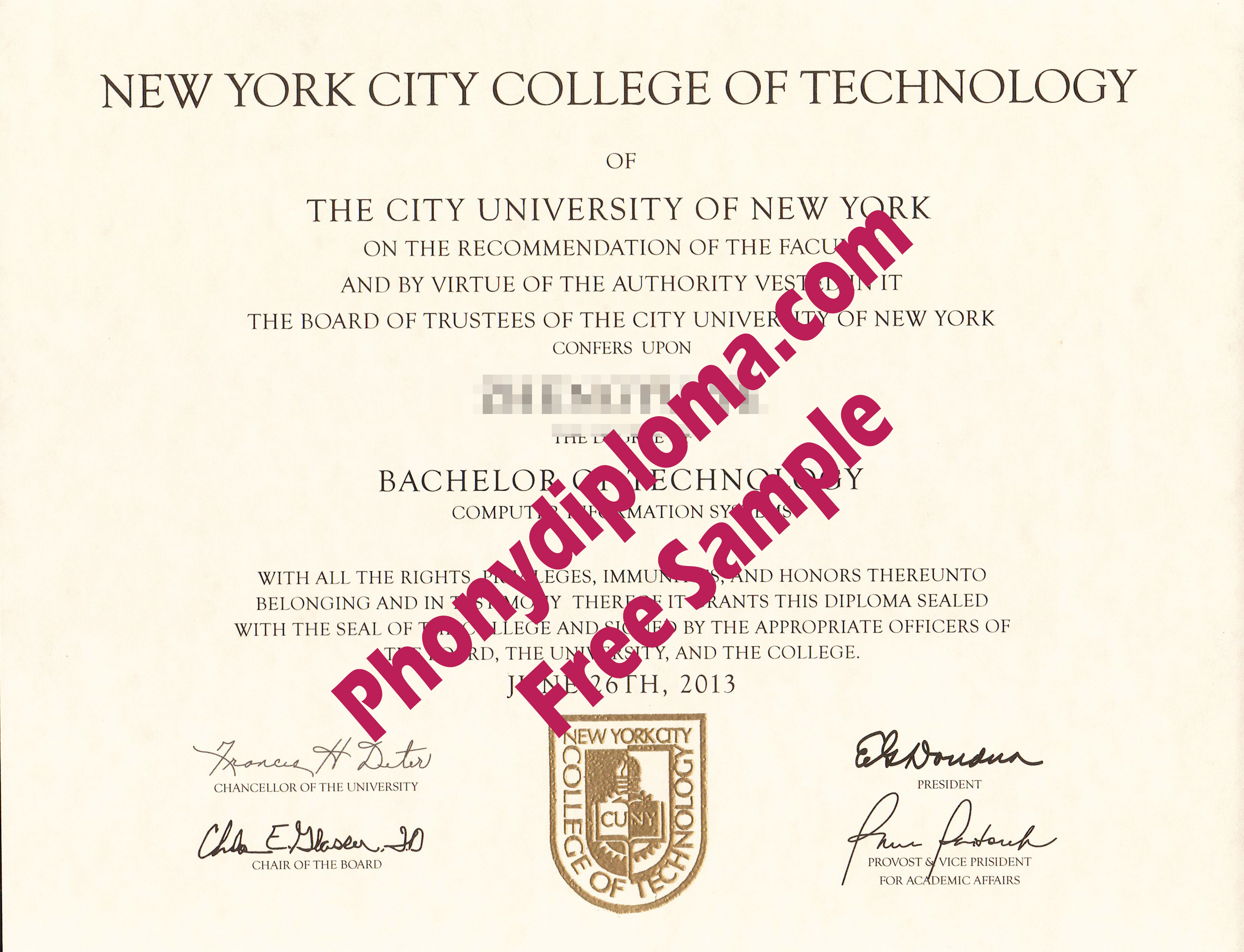 New York City College Of Technology Free Sample From Phonydiploma