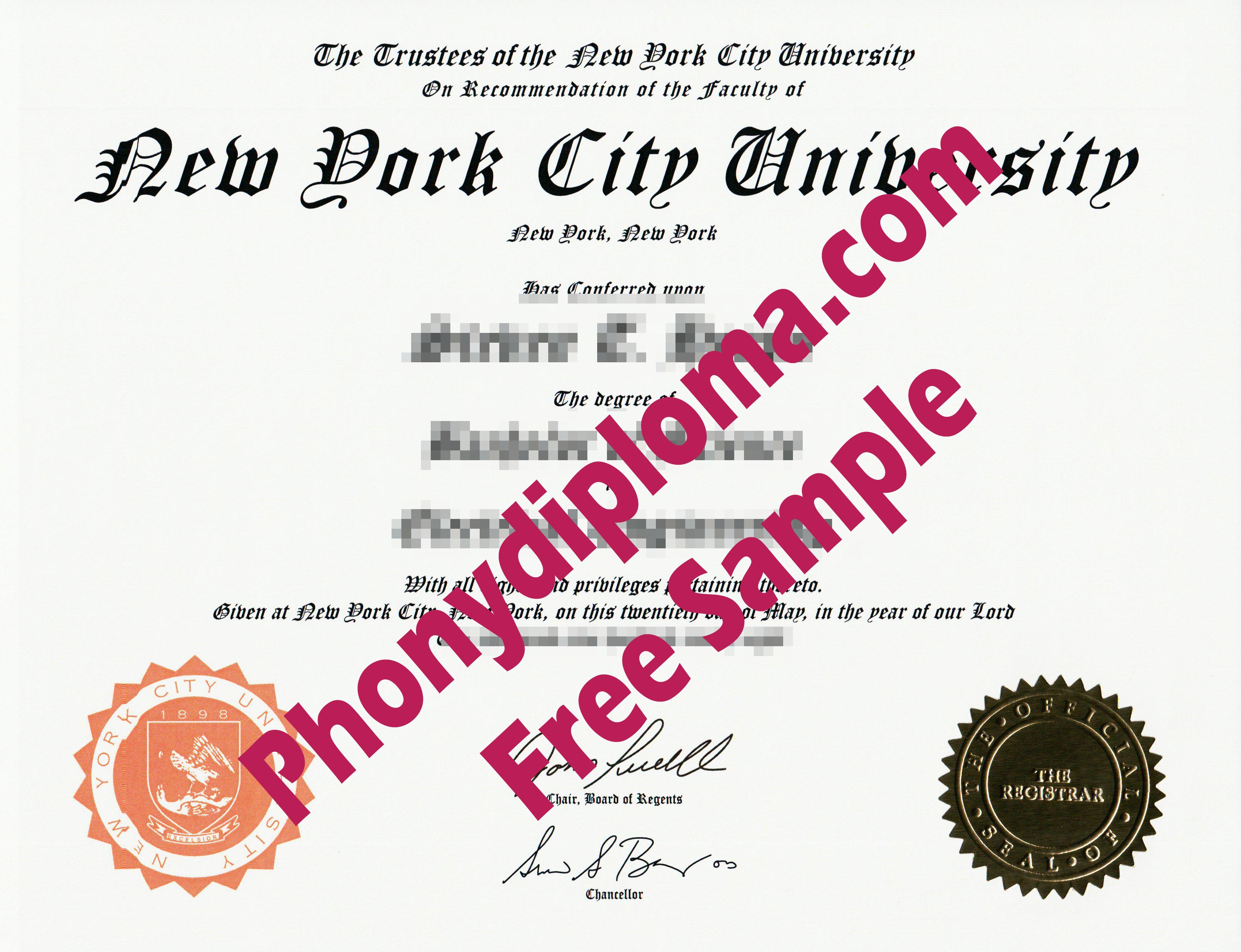 New York City Univerity Free Sample From Phonydiploma