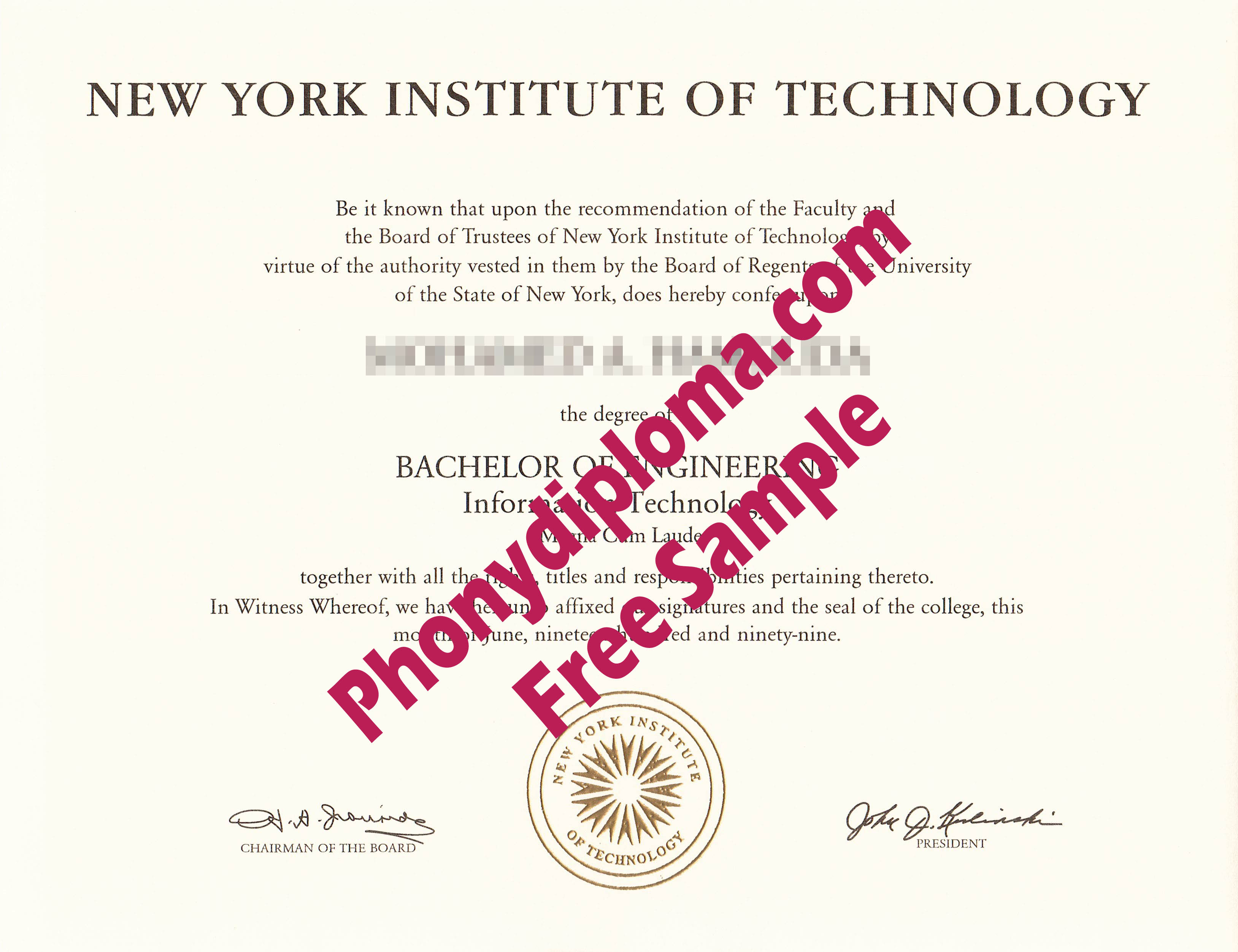 New York Institute Of Technology Free Sample From Phonydiploma