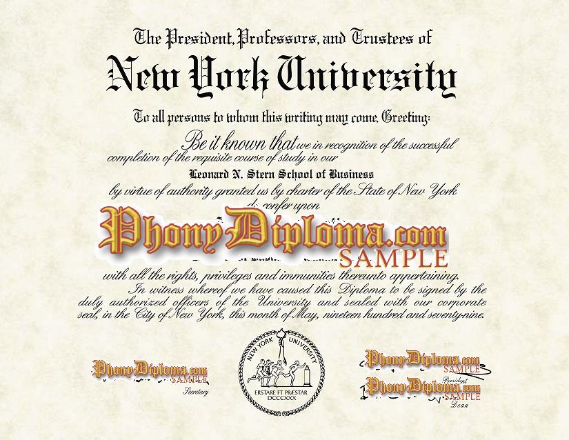 New York University Free Sample From Phonydiploma