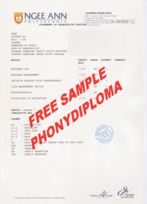 Ngee Ann Polytechnic Actual Match Transcript Free Sample From Phonydiploma