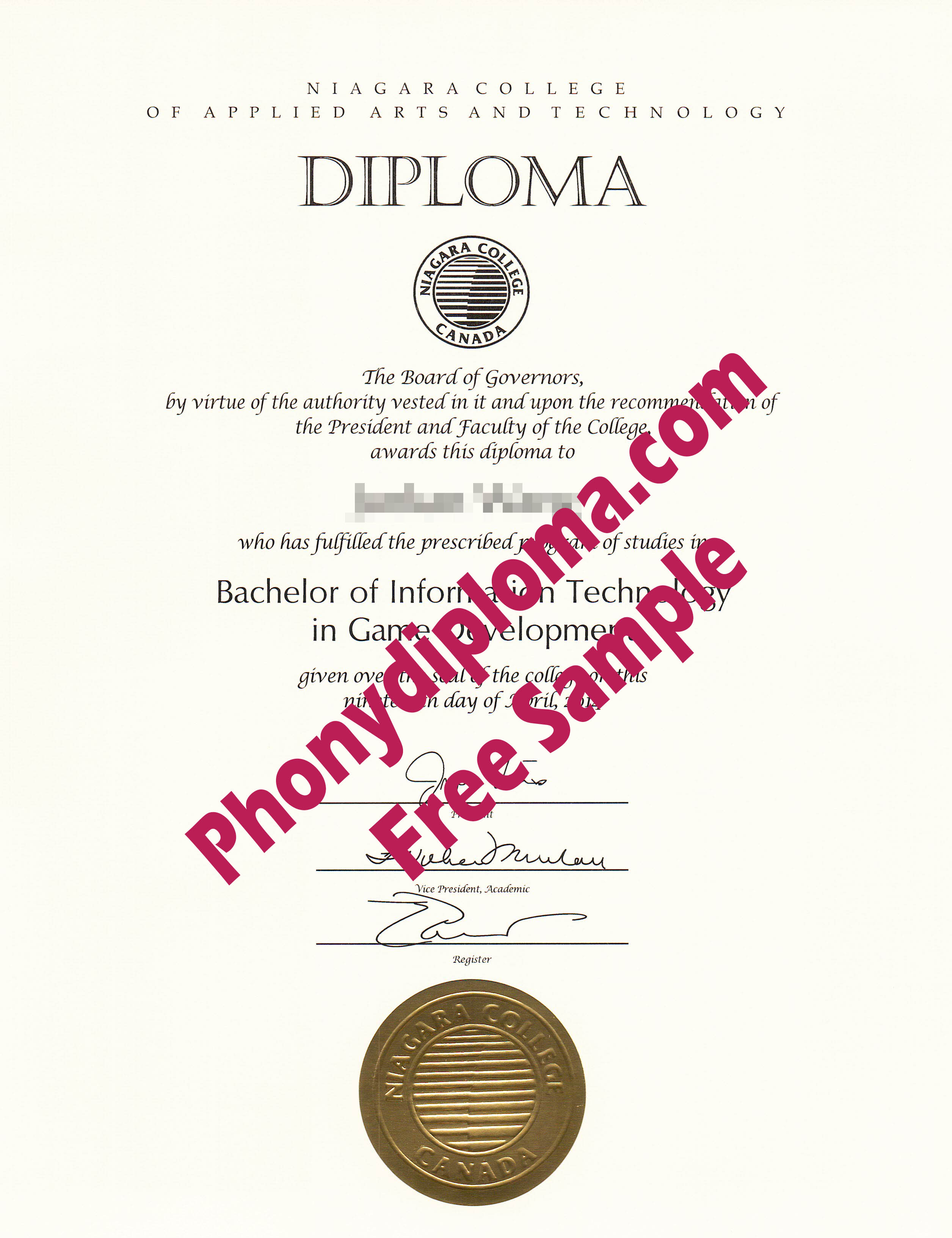 Niagara College Of Applied Arts And Technology Free Sample From Phonydiploma