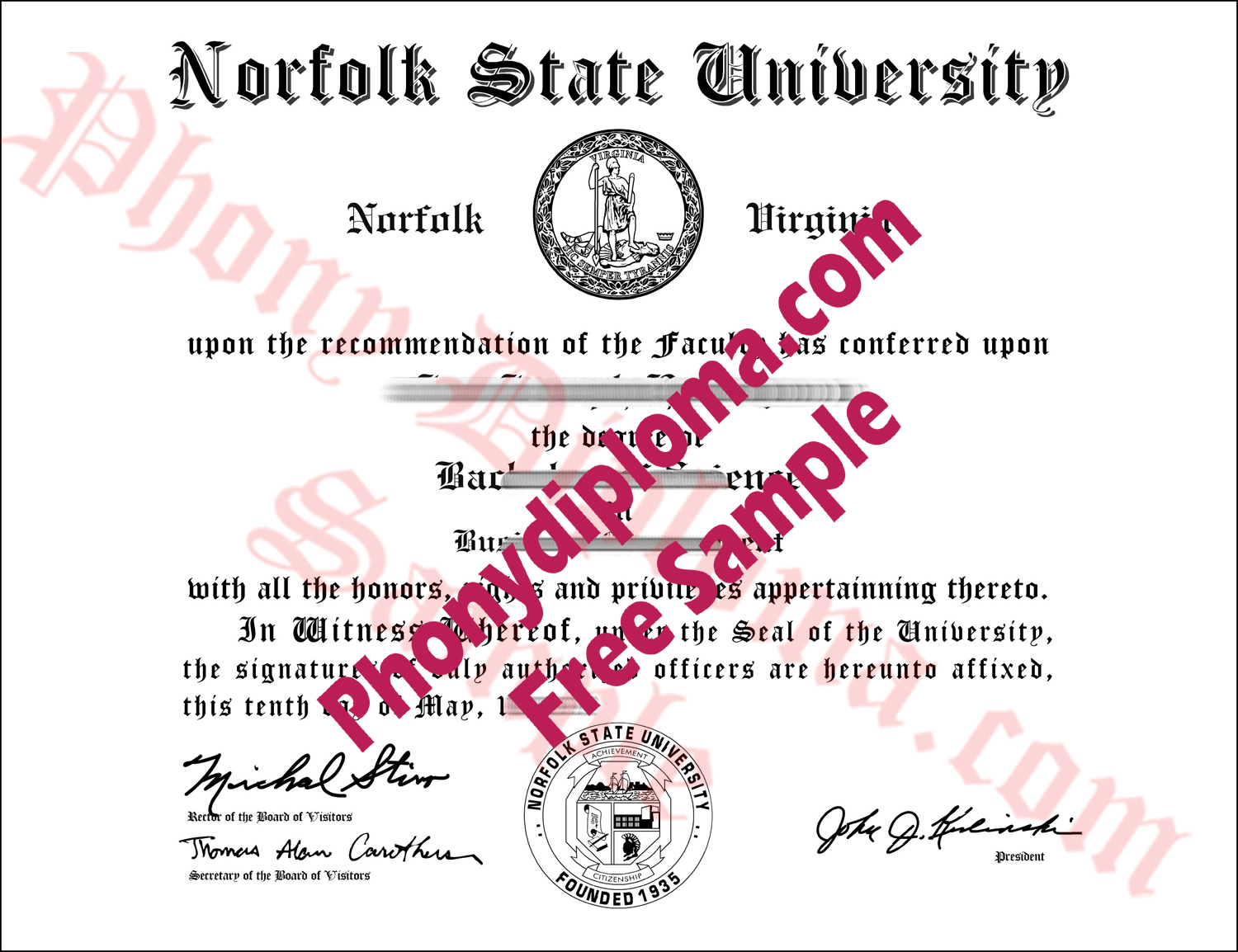 Norfolk State University Free Sample From Phonydiploma