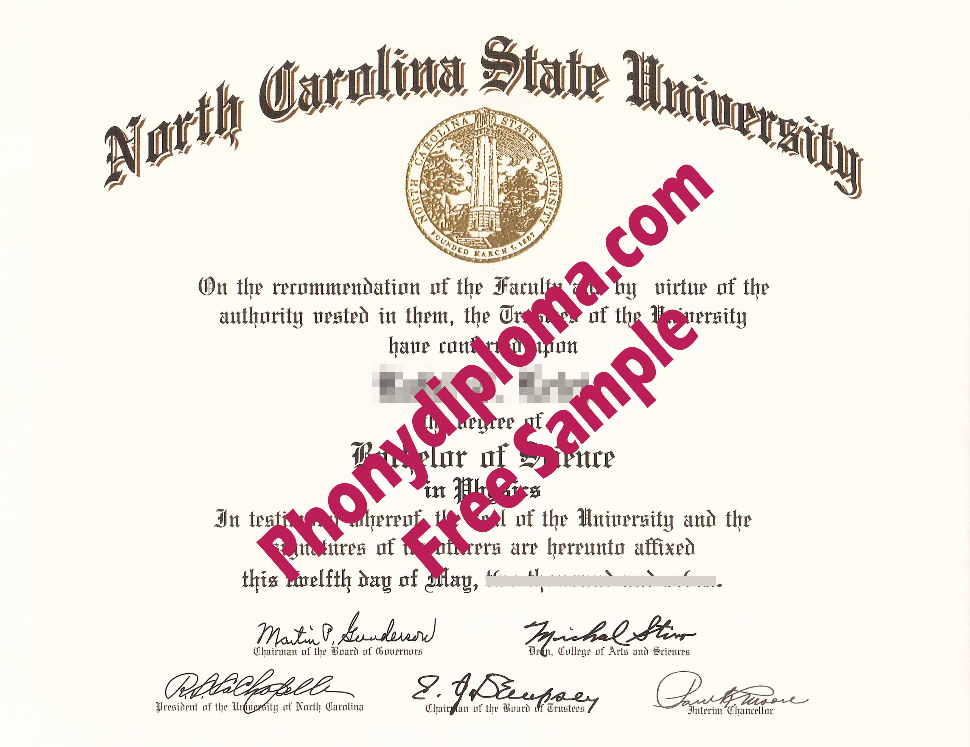 North Carolina State University Scan Free Sample From Phonydiploma