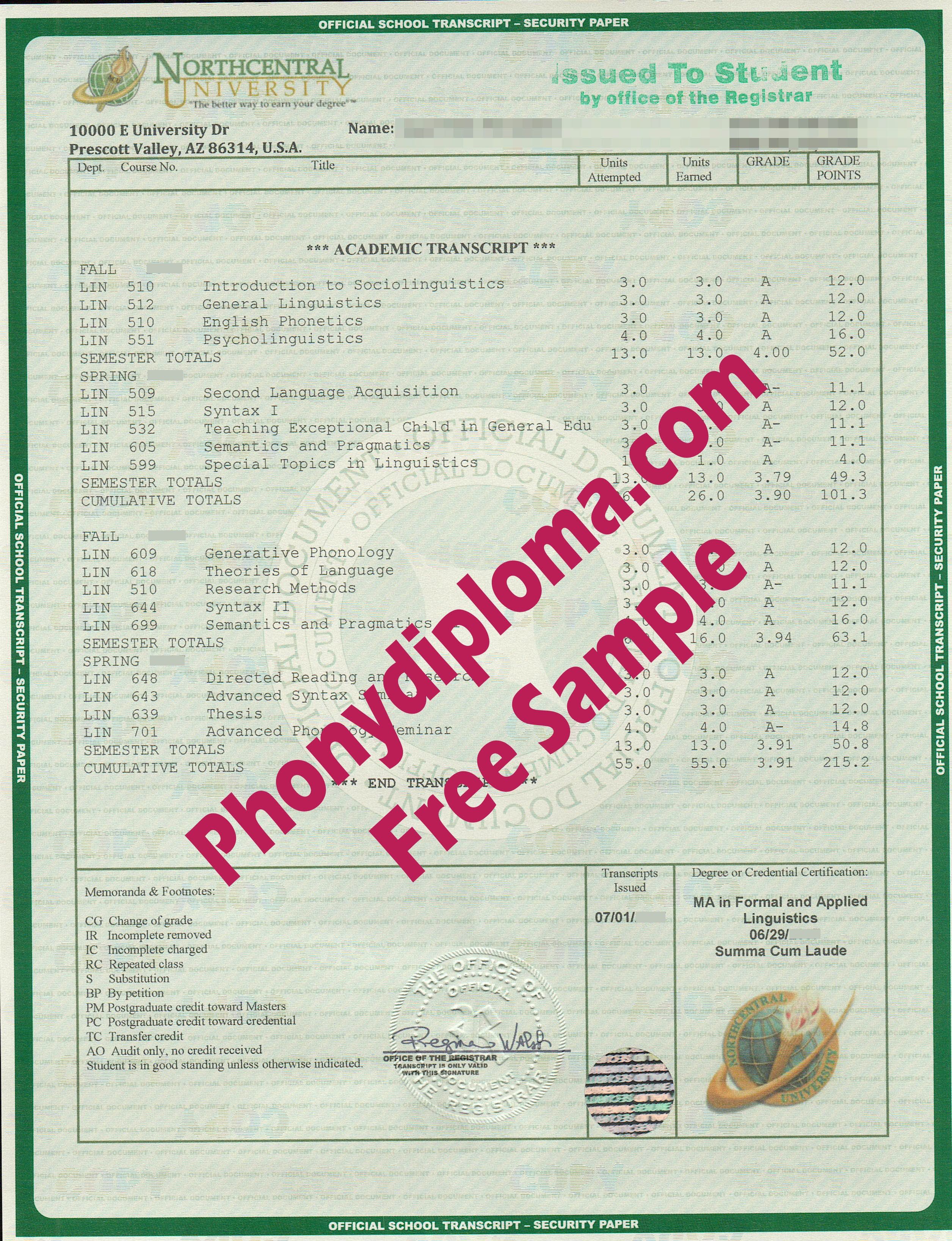 Northcentral University House Design Transcript Free Sample From Phonydiploma