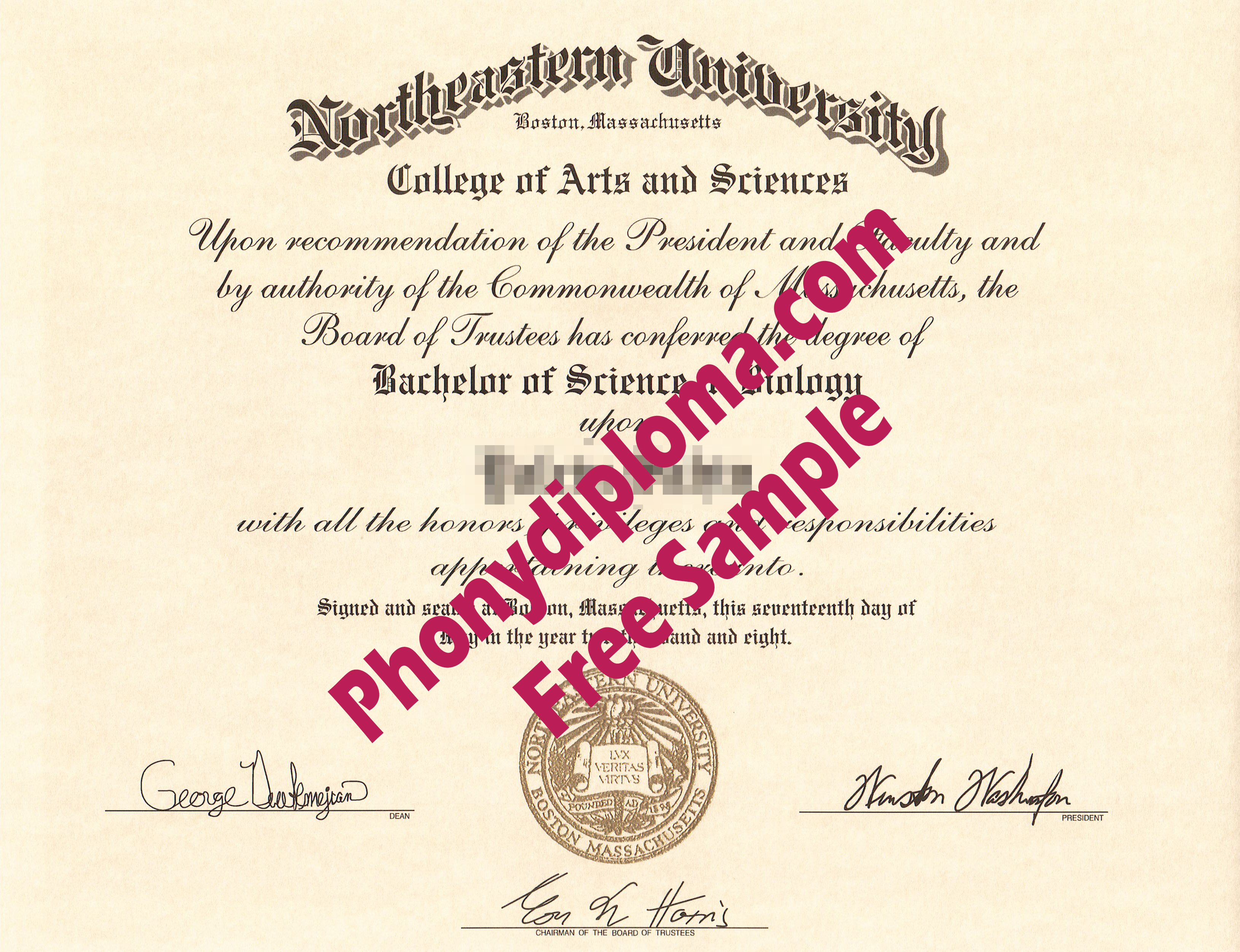 Northeastern University Free Sample From Phonydiploma