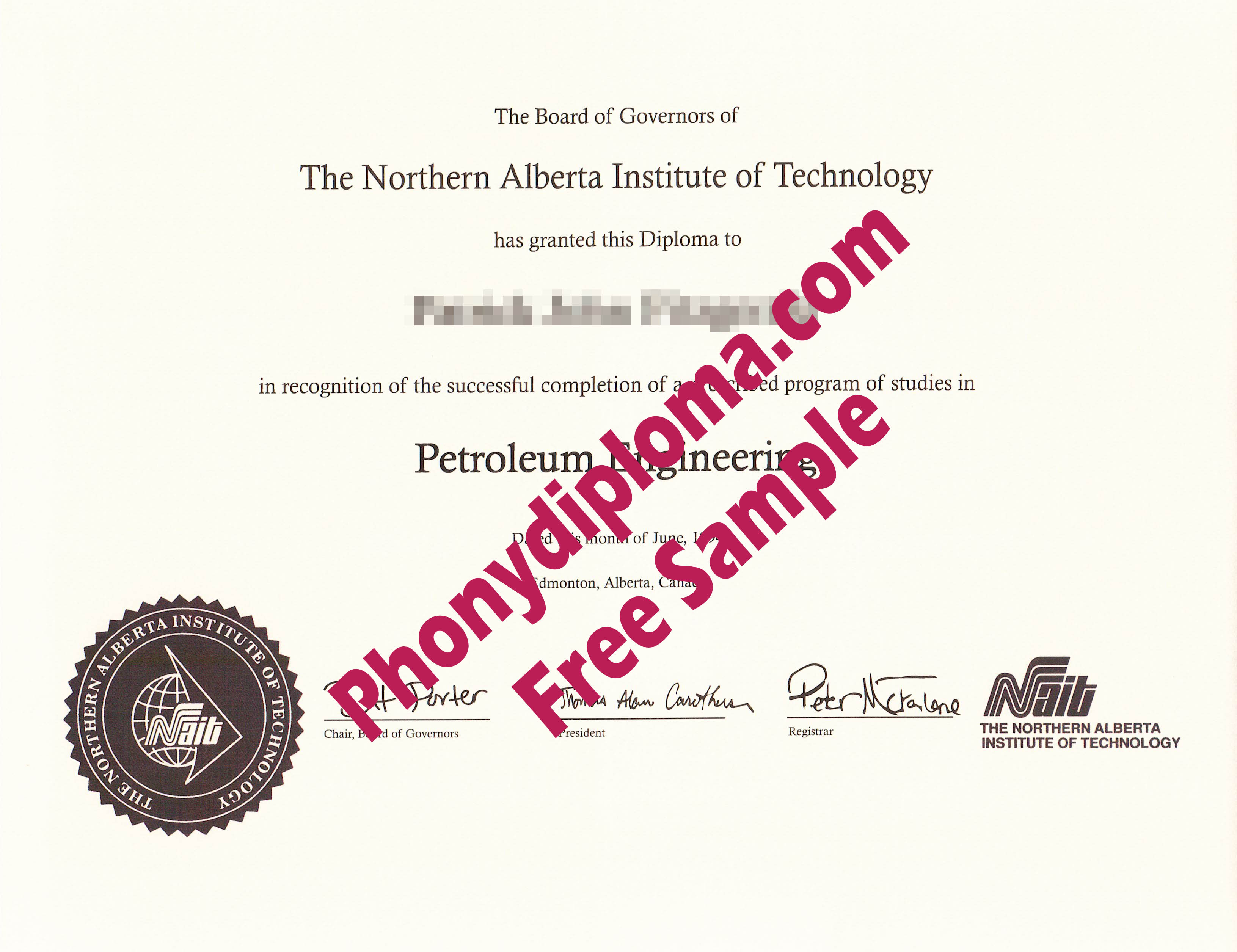 Northern Alberta Institute Of Technology Free Sample From Phonydiploma